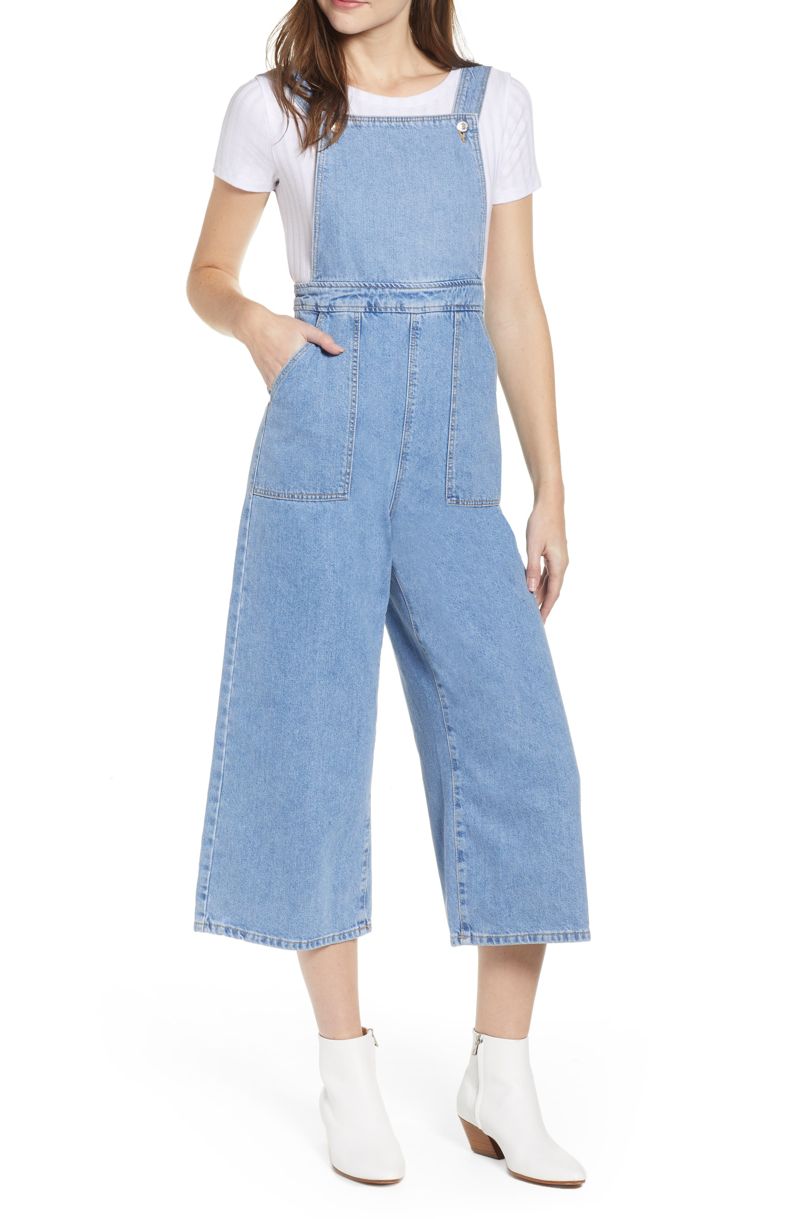 Wide Leg Crop Overalls,                         Main,                         color, MID STONE