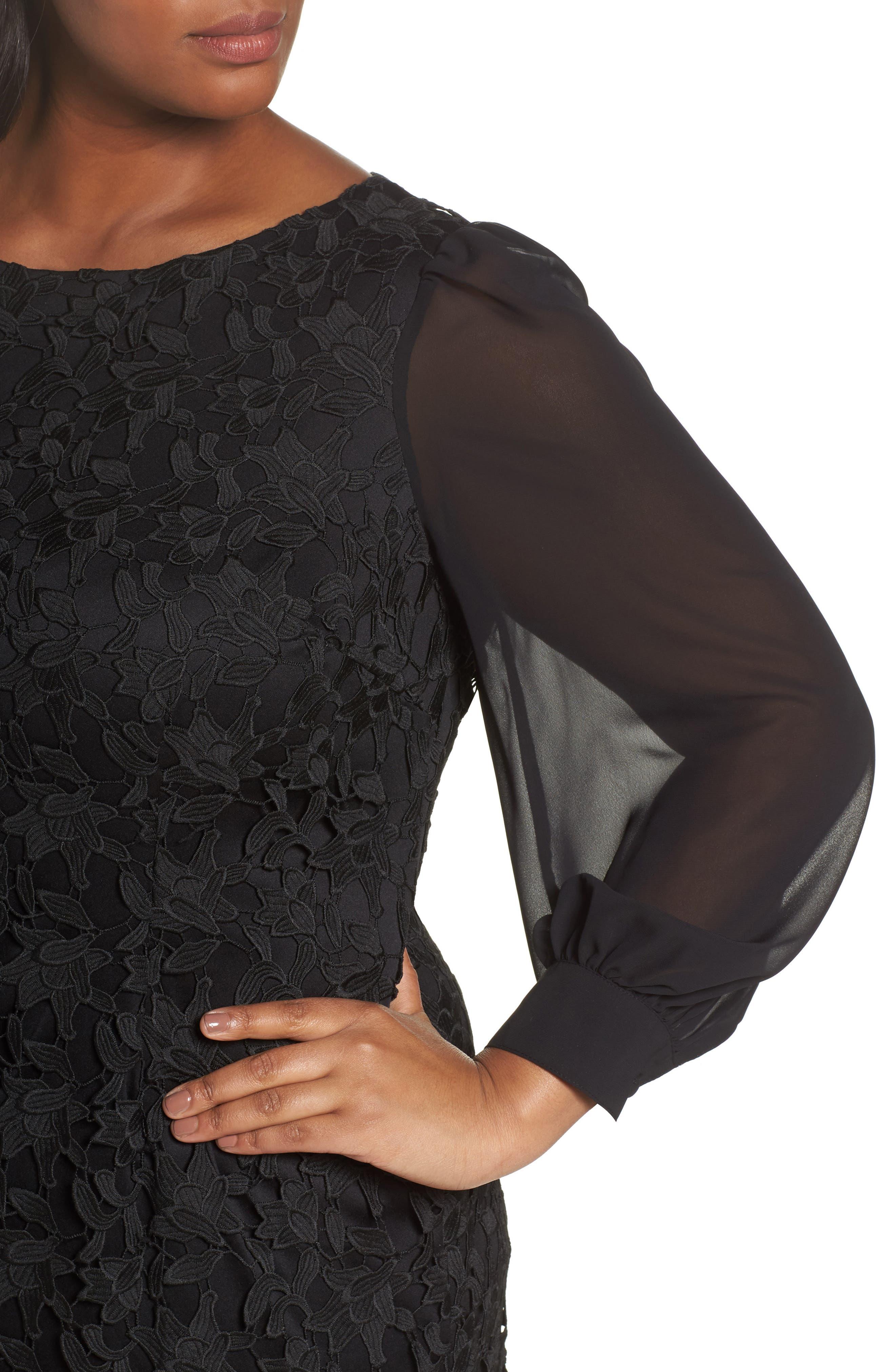 Ava Lace Sheath Dress,                             Alternate thumbnail 4, color,                             002