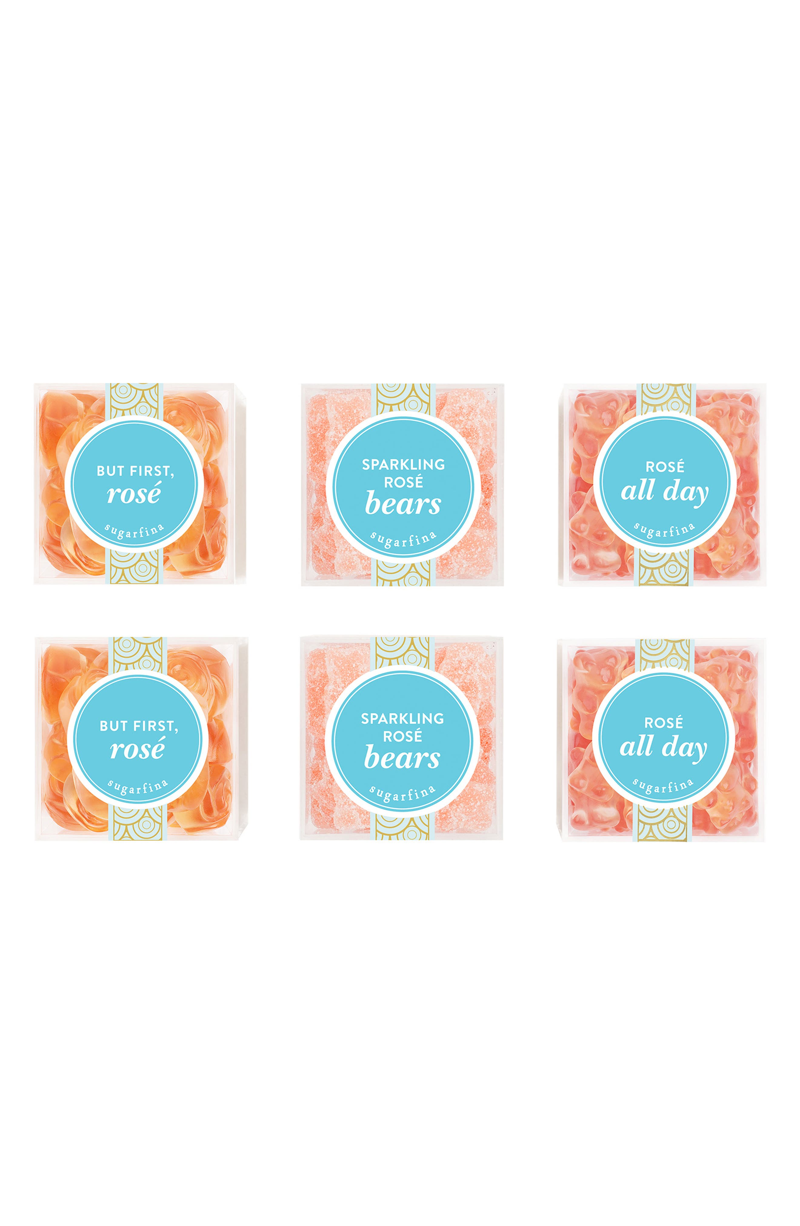 SUGARFINA Set of 6 Rosé Lovers' Delight Candy Boxes, Main, color, PINK
