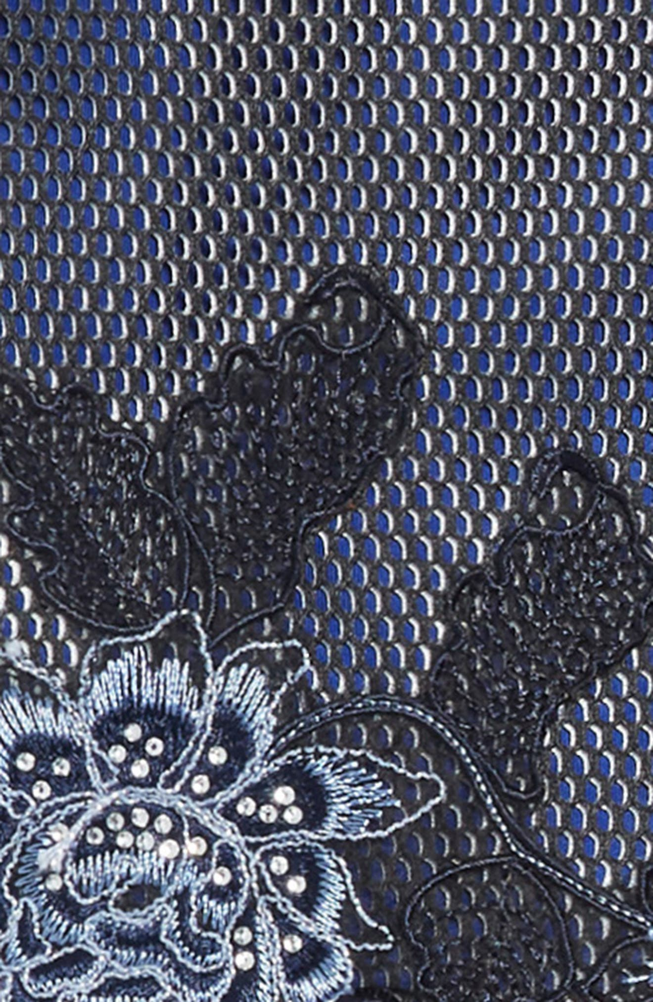Embroidered Techno Mesh Dress,                             Alternate thumbnail 3, color,                             NAVY