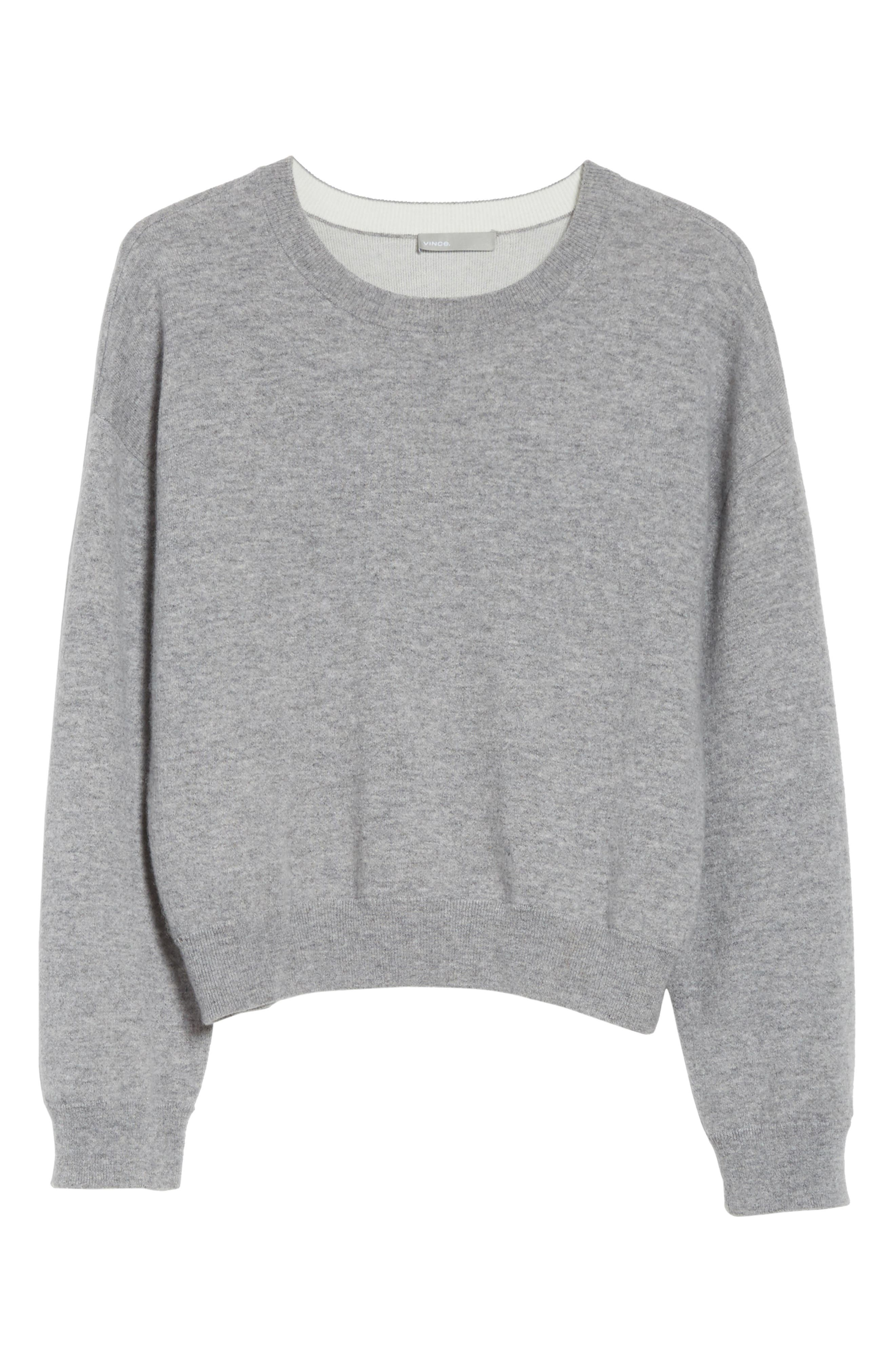 Double Layer Cashmere & Cotton Sweater,                             Alternate thumbnail 6, color,                             081