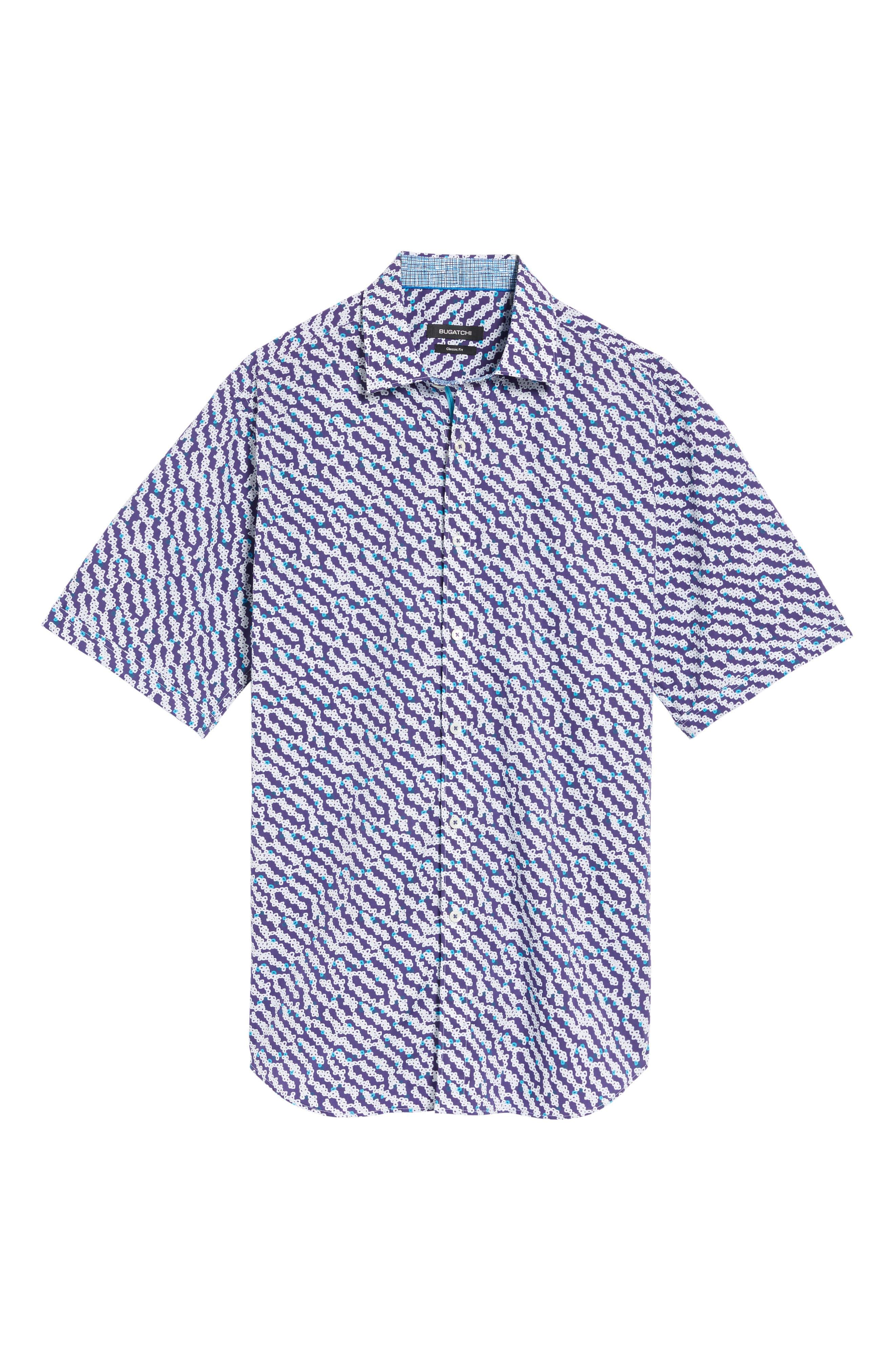 Classic Fit Print Short Sleeve Sport Shirt,                             Alternate thumbnail 6, color,                             411