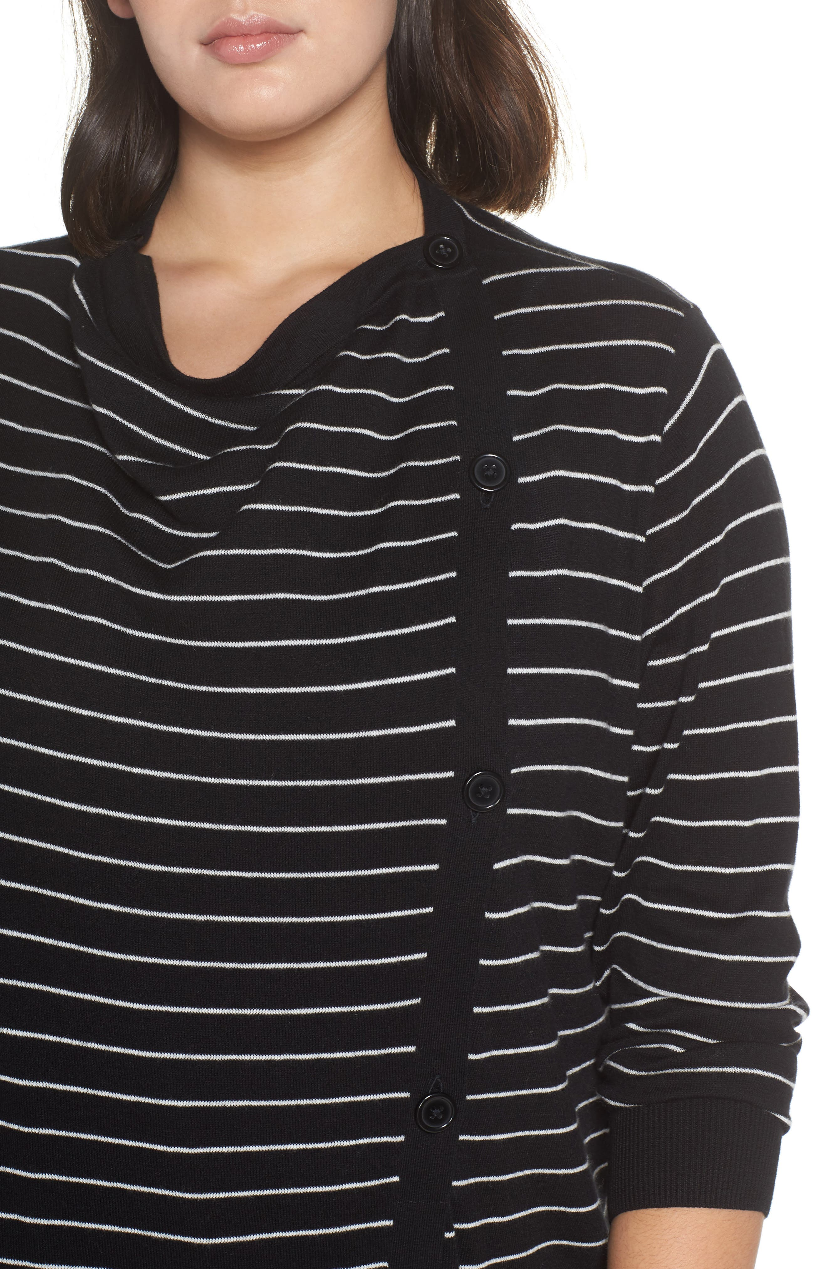 Button-Up Waterfall Cardigan,                             Alternate thumbnail 4, color,                             BLACK- IVORY DELIA STRIPE