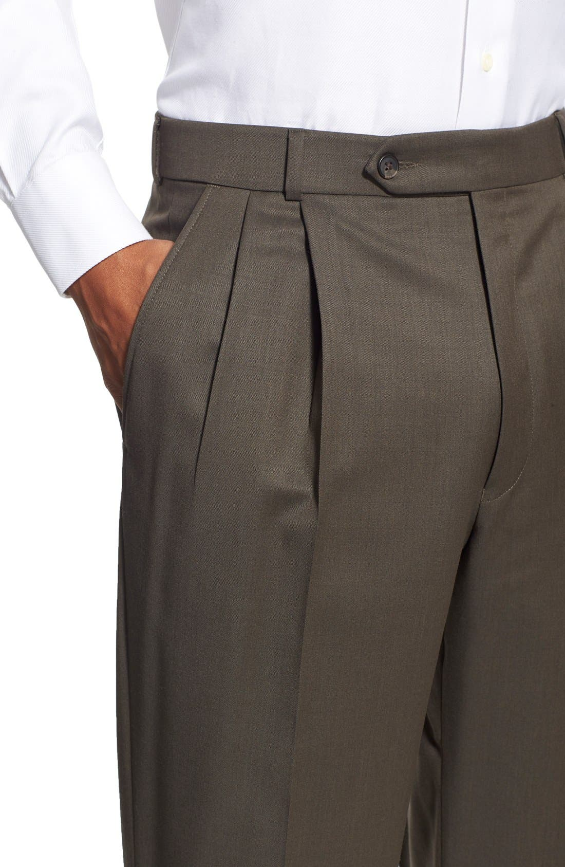 Pleated Solid Wool Trousers,                             Alternate thumbnail 50, color,