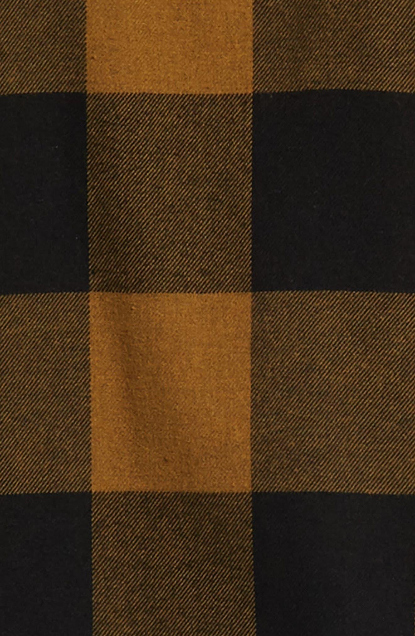 Bowery Buffalo Plaid Flannel Shirt,                             Alternate thumbnail 6, color,                             BLACK/ BRONZE