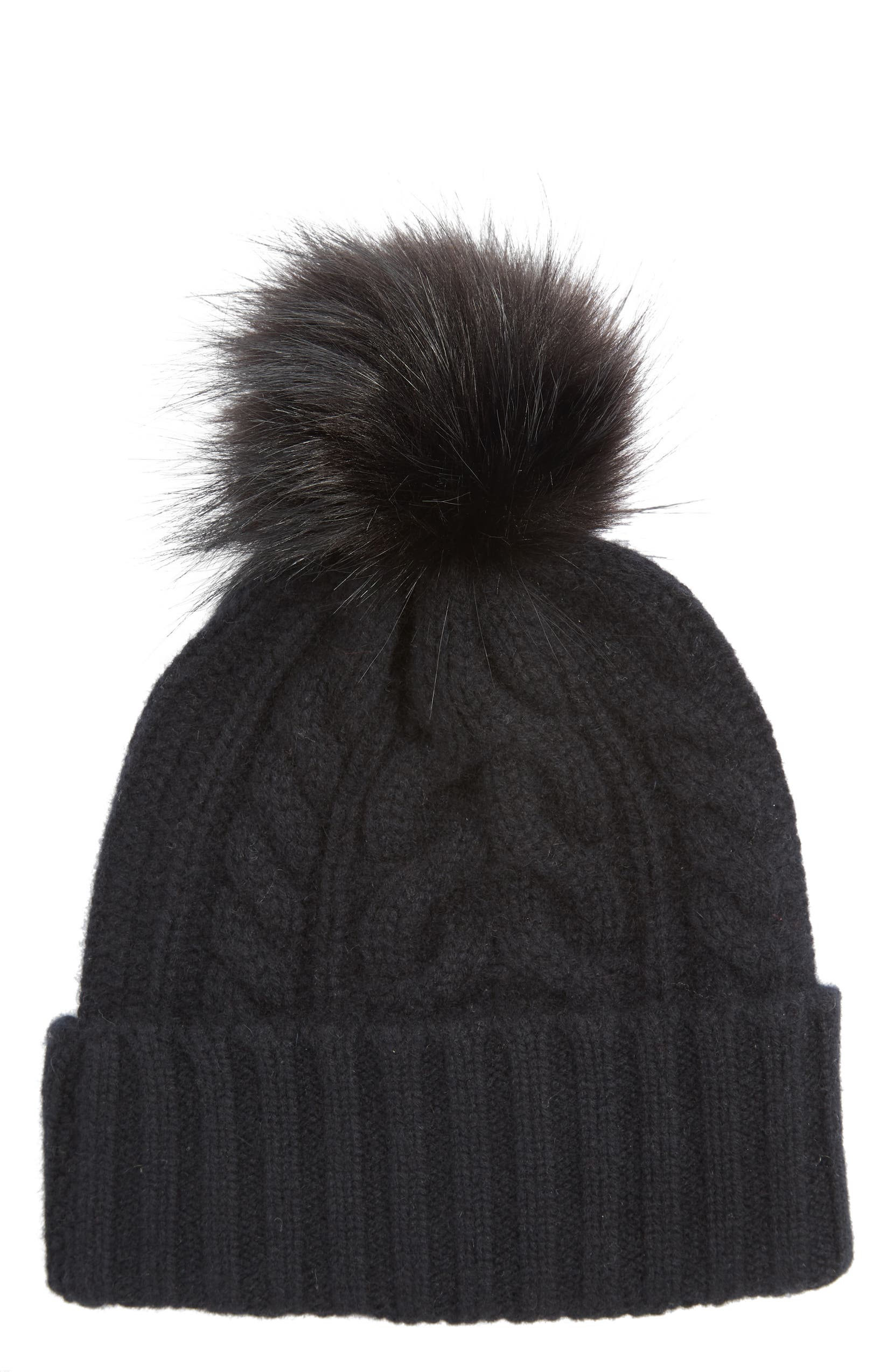 e8be5c9c845d8 Halogen® Cashmere Cable Knit Beanie with Faux Fur Pom