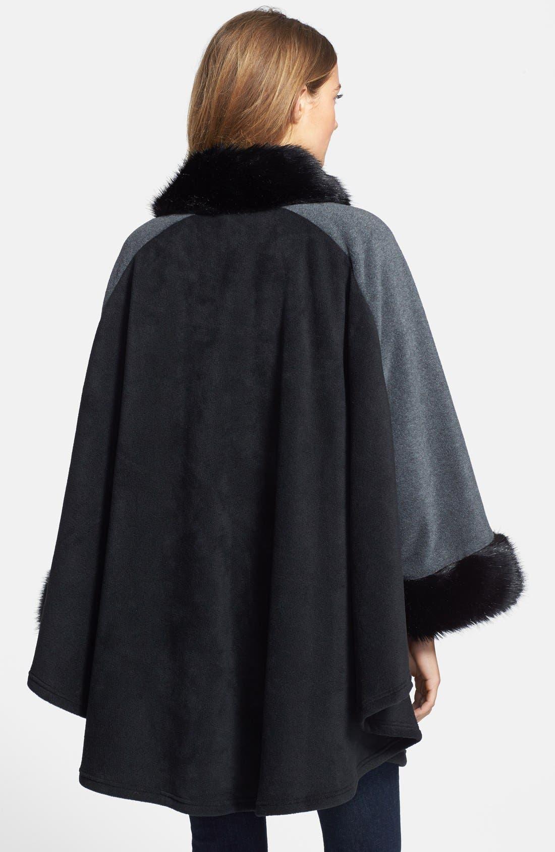 'Karina' Faux Fur Trim Cape,                             Alternate thumbnail 3, color,                             001