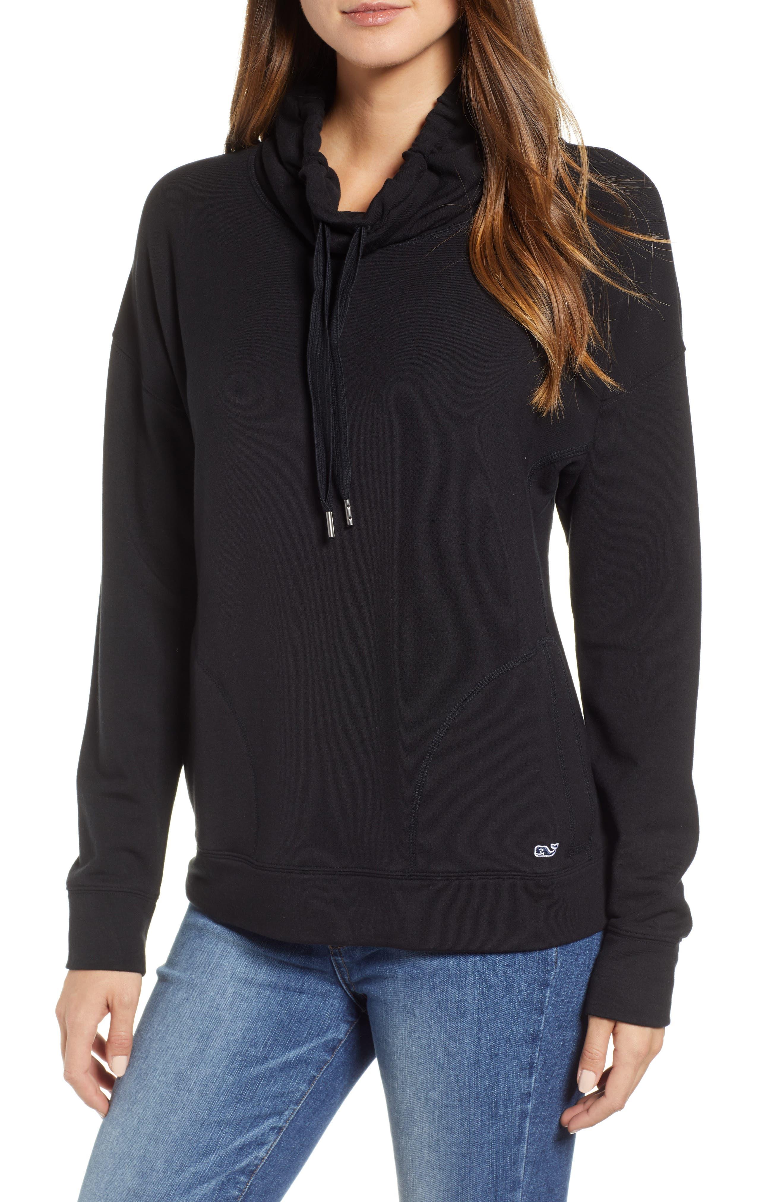 Funnel Neck Sweatshirt,                         Main,                         color, JET BLACK