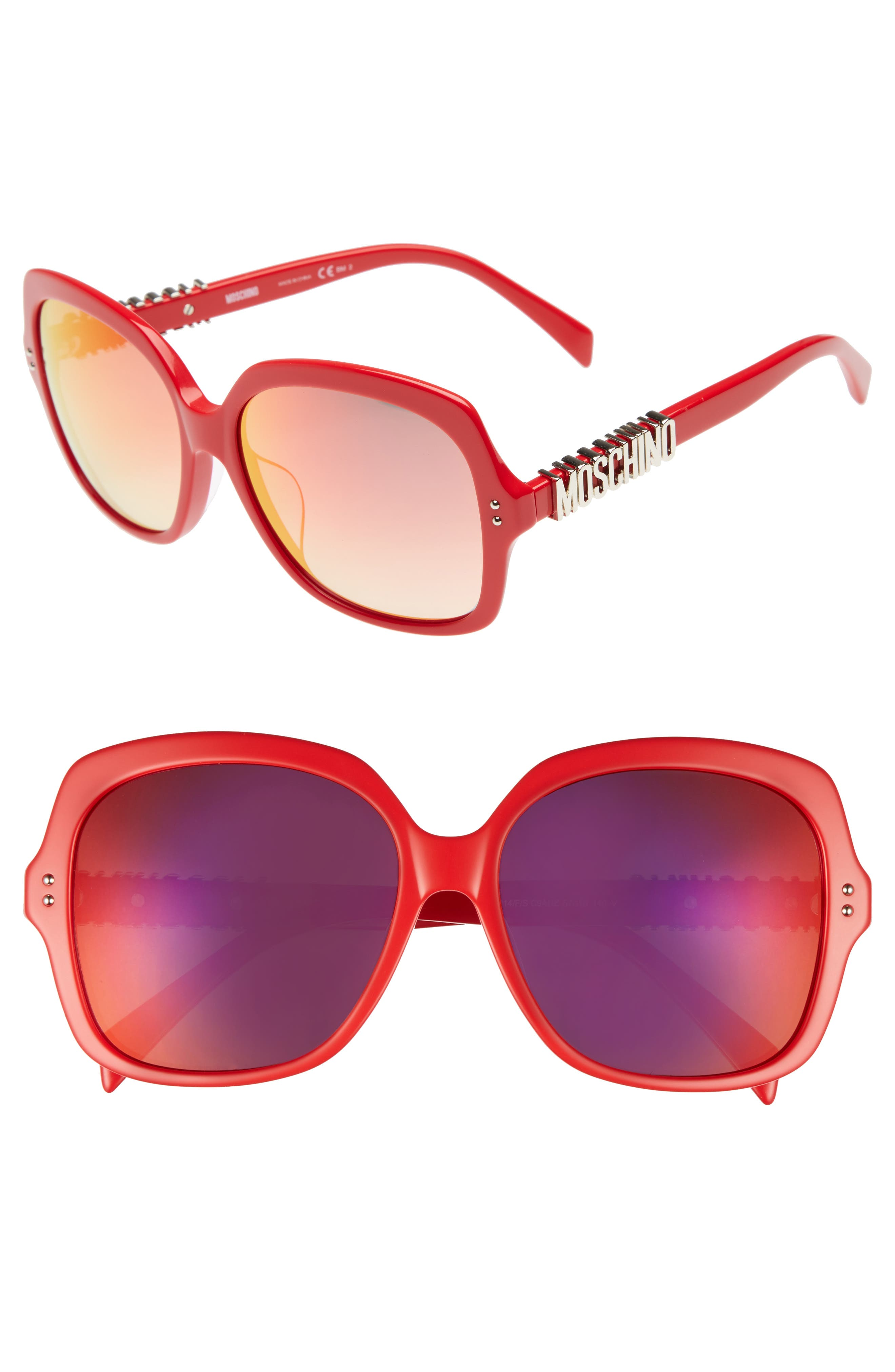 57mm Oversized Polarized Sunglasses,                             Main thumbnail 4, color,