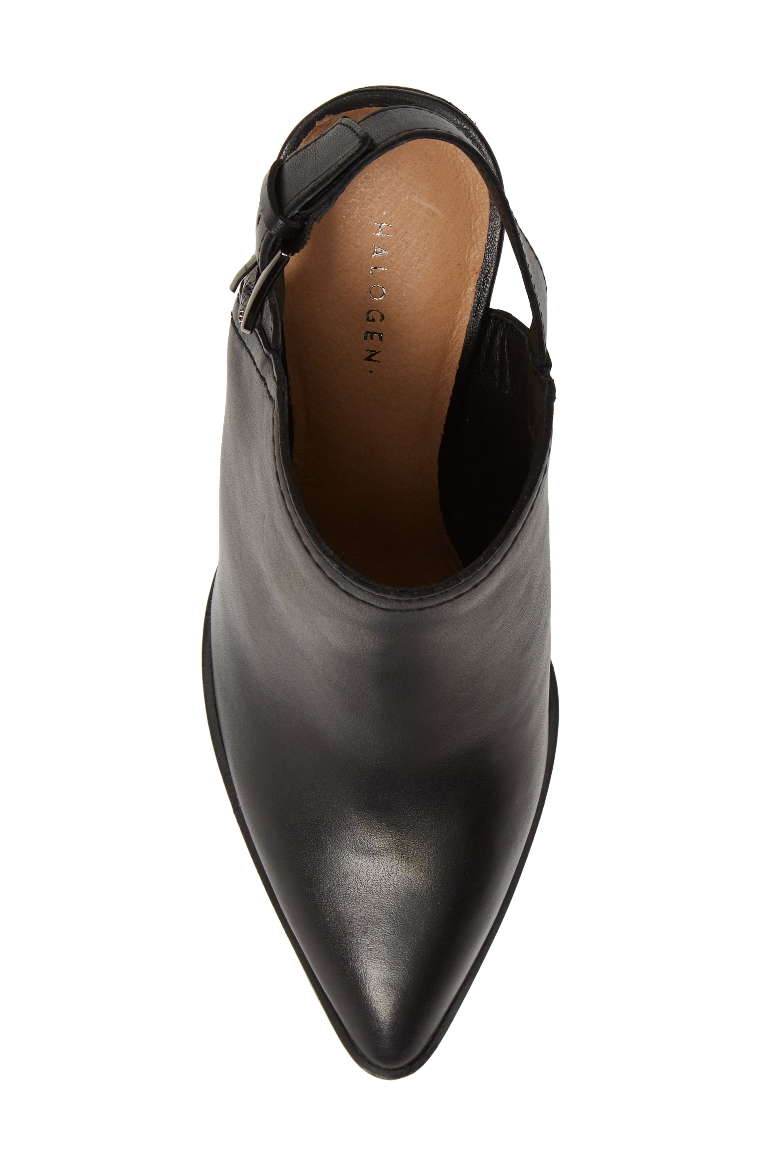 HALOGEN<SUP>®</SUP>,                             Brooke Stacked Heel Bootie,                             Alternate thumbnail 5, color,                             BLACK LEATHER