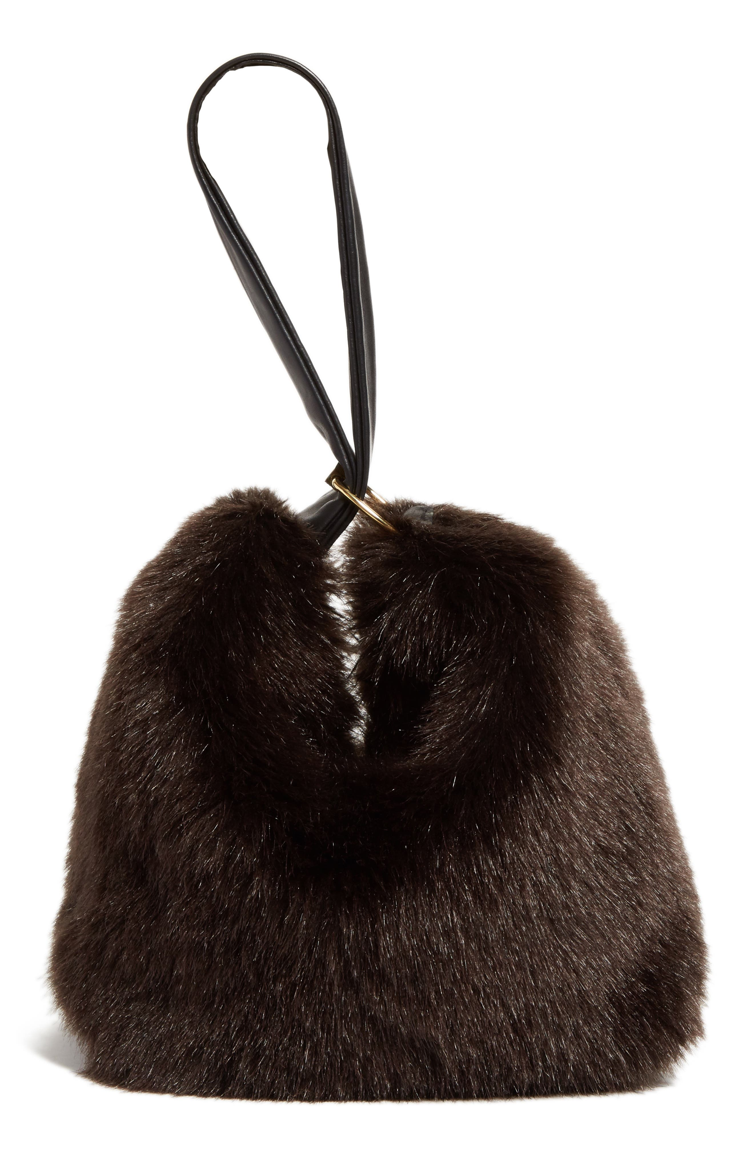 Tissue Pouch Faux Fur Bag,                             Main thumbnail 1, color,                             200