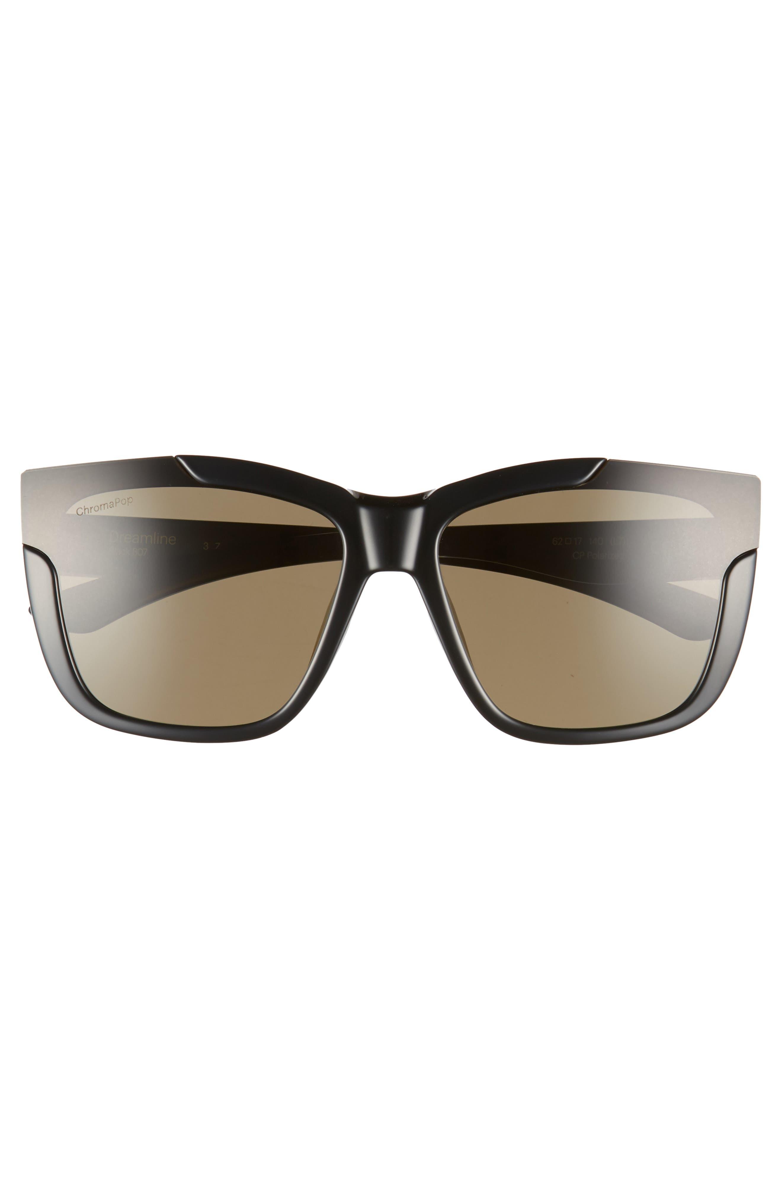 Dreamline 62mm Oversize Butterfly ChromaPop<sup>™</sup> Polarized Sunglasses,                             Alternate thumbnail 3, color,                             BLACK