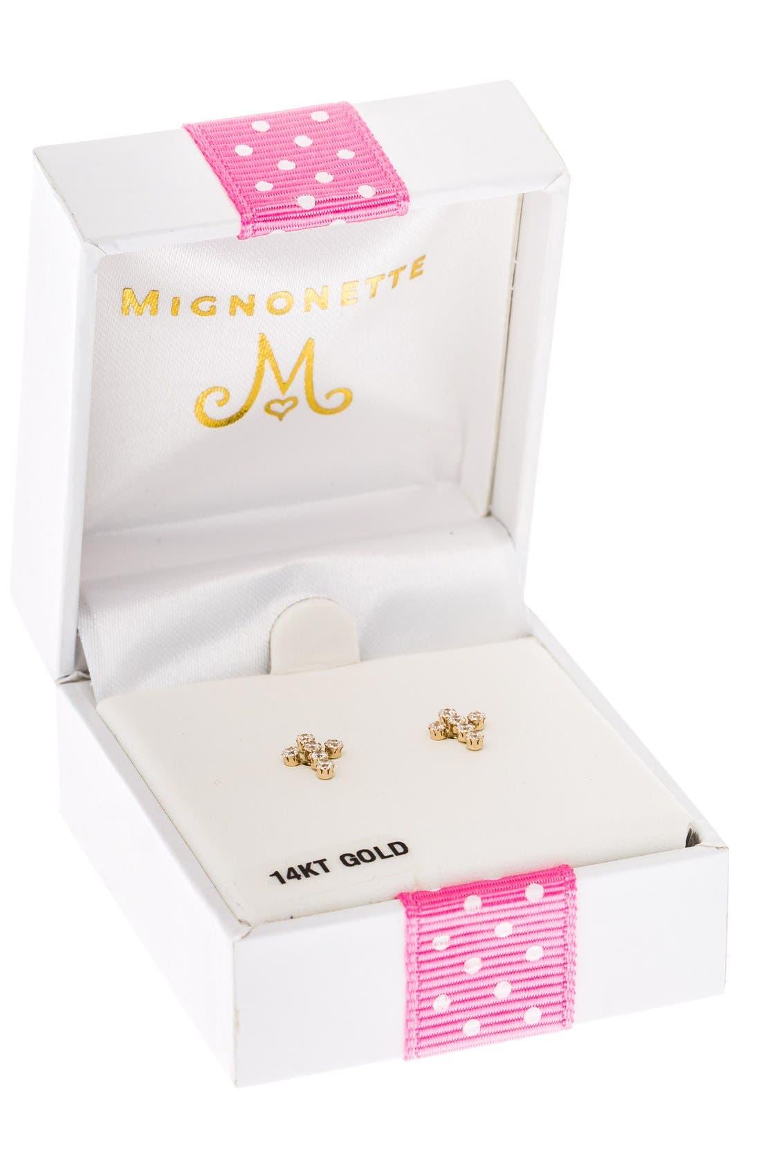 14k Gold & Cubic Zirconia Cross Earrings,                             Alternate thumbnail 3, color,                             GOLD