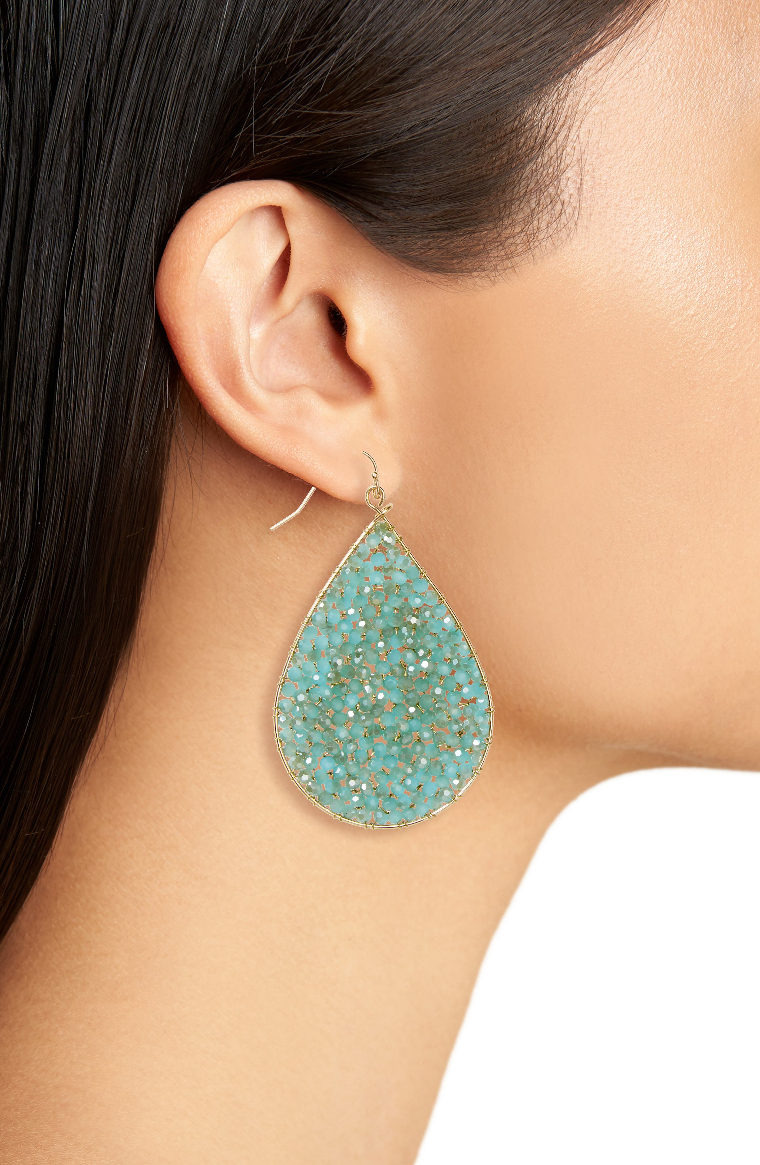 Crystal Teardrop Earrings,                             Alternate thumbnail 2, color,                             310