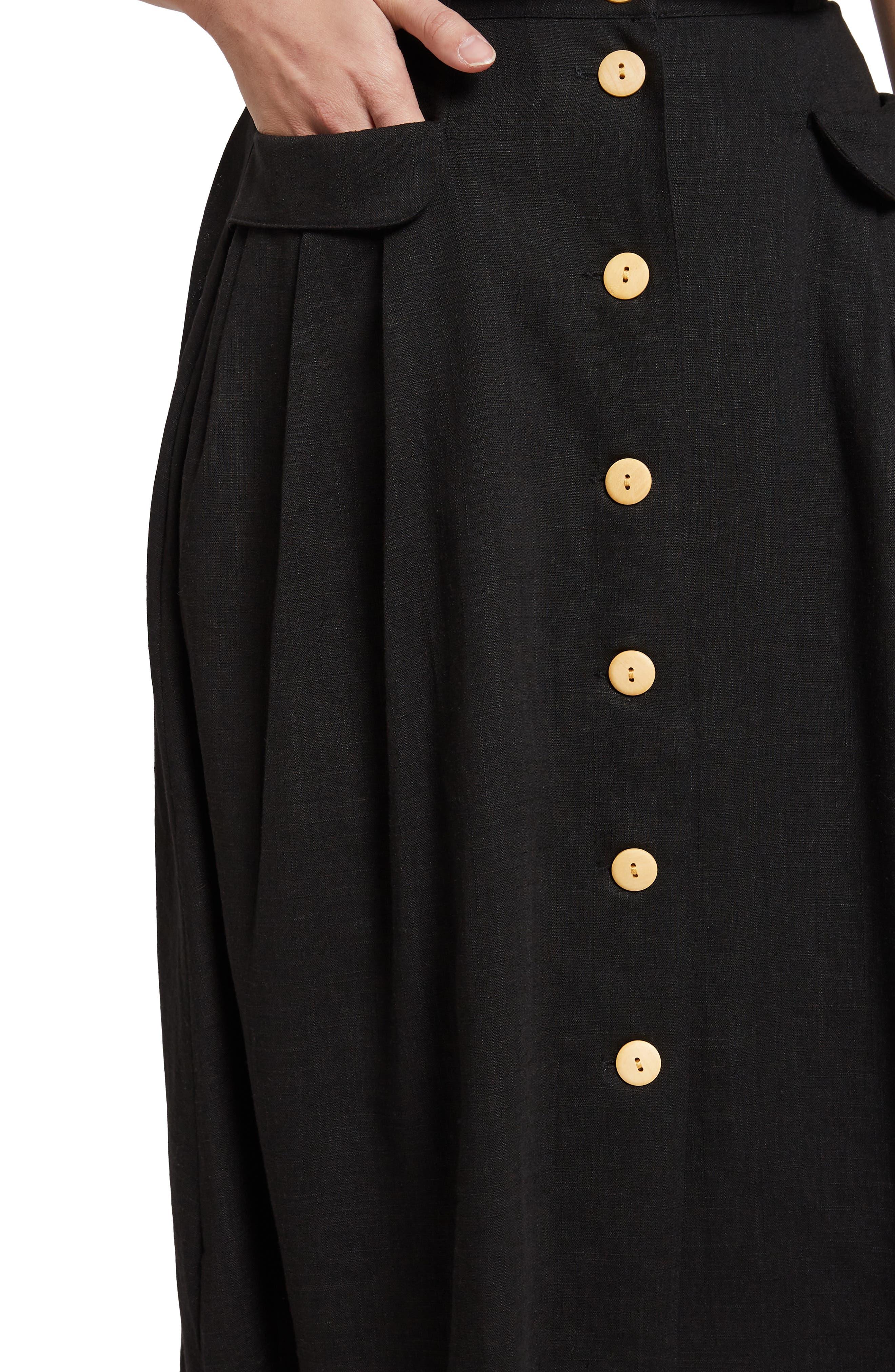 MODCLOTH,                             Pleat Midi Skirt,                             Alternate thumbnail 4, color,                             BLACK