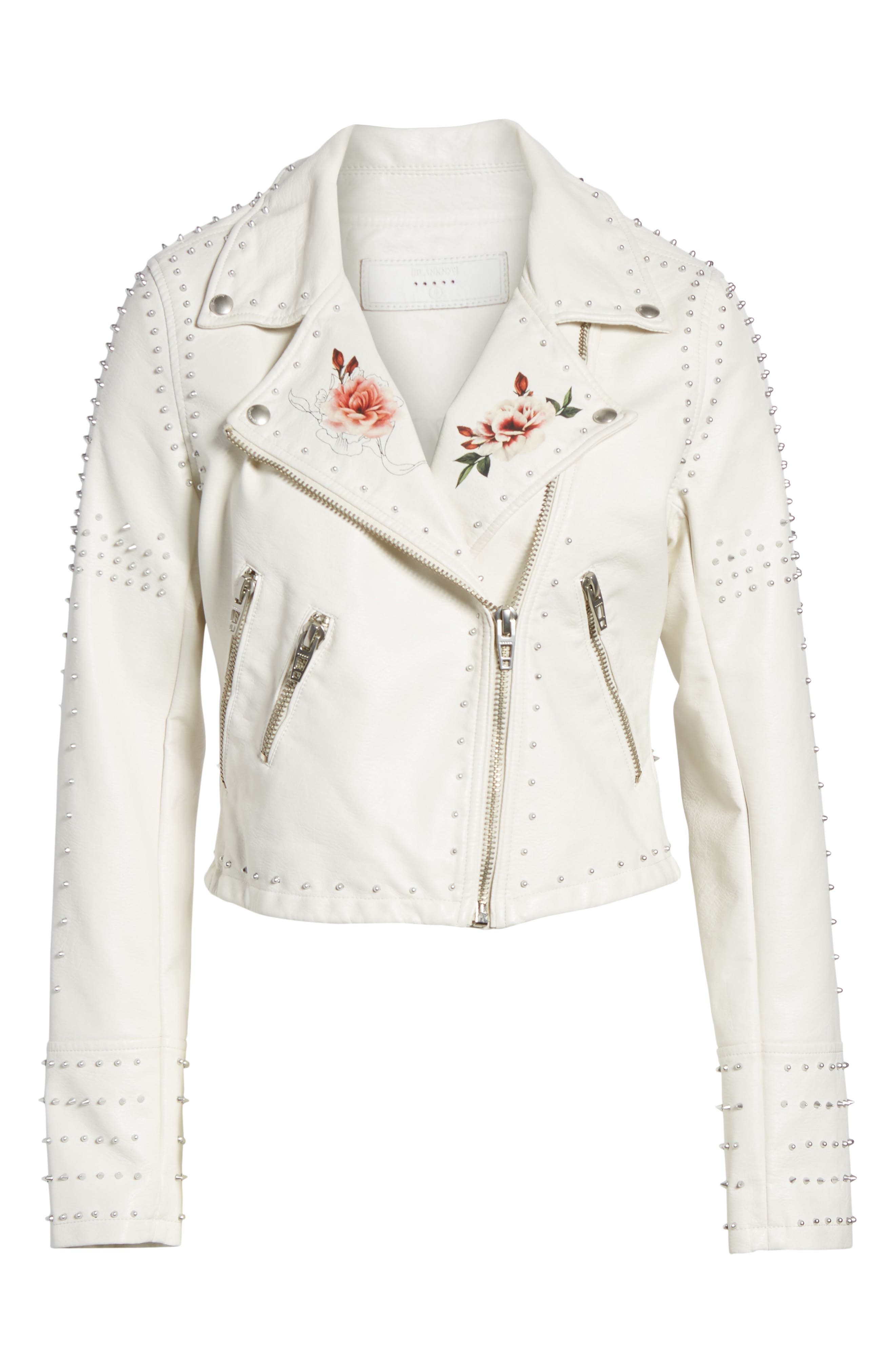 Printed Studded Moto Jacket,                             Alternate thumbnail 10, color,