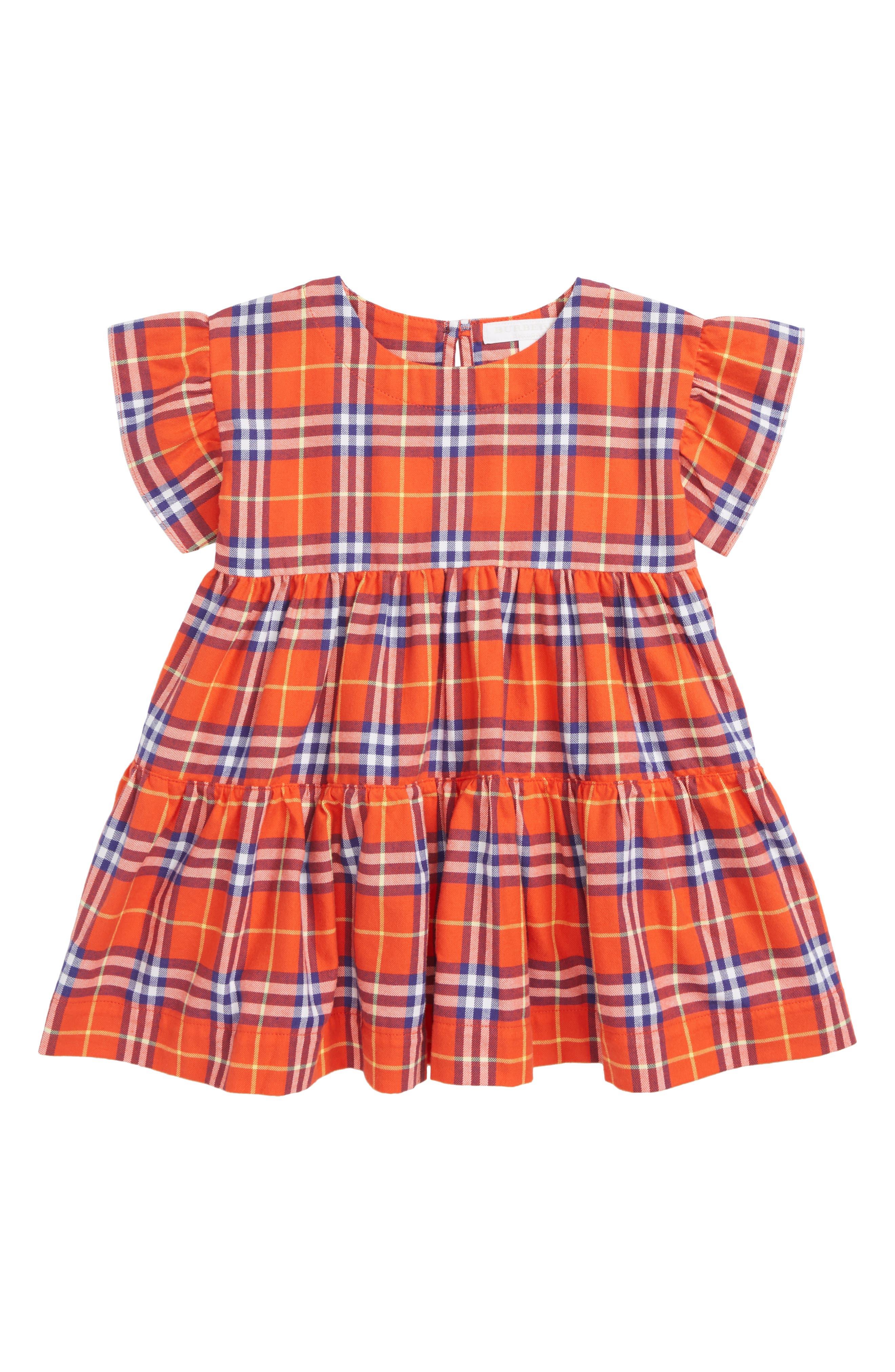 Alima Check Dress,                             Main thumbnail 1, color,                             ORANGE RED CHK