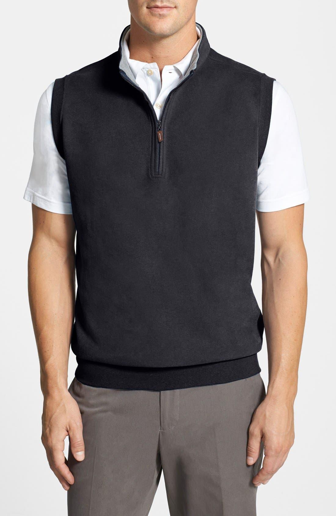 Mélange Fleece Quarter Zip Vest,                             Alternate thumbnail 2, color,                             001