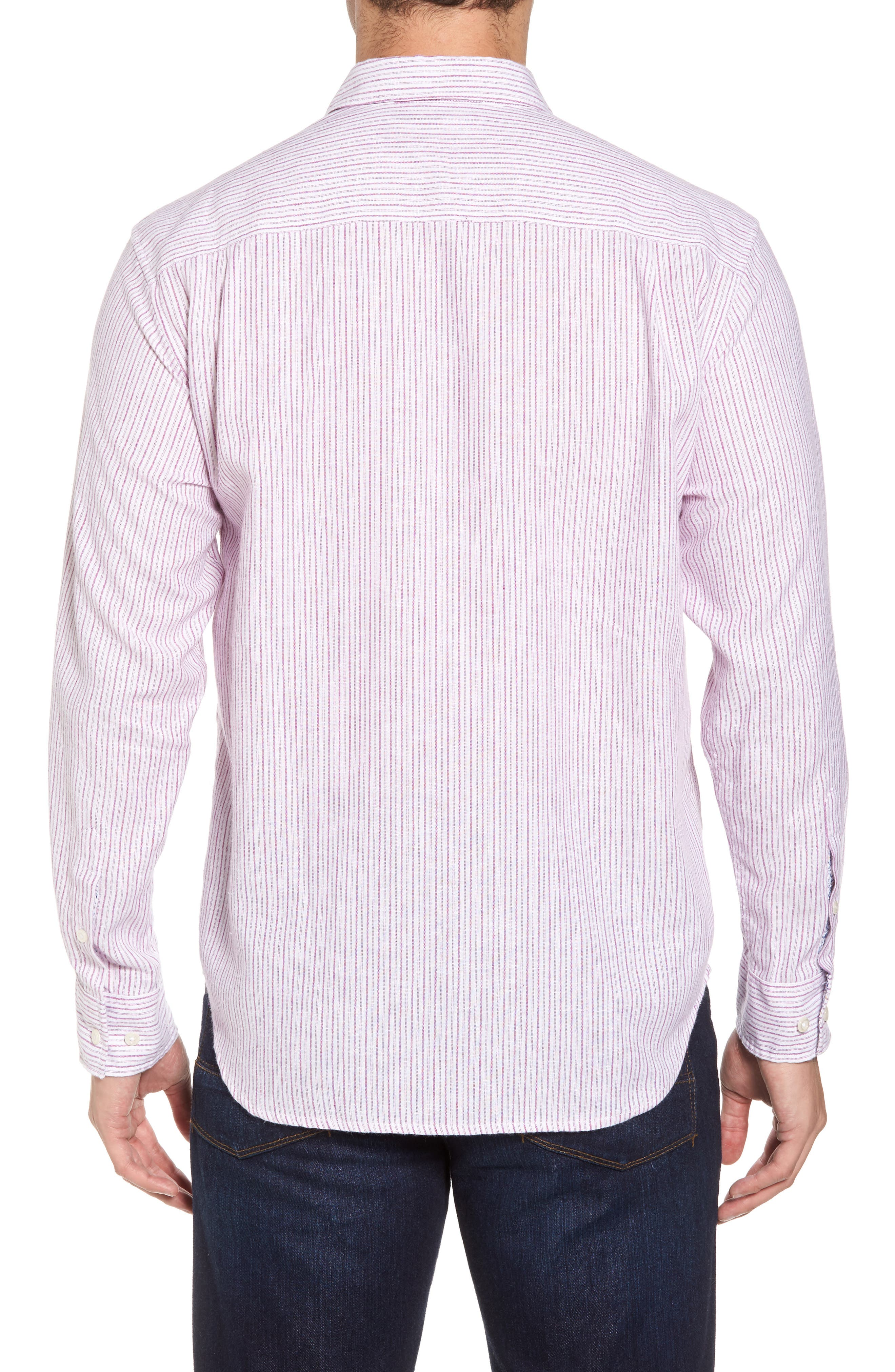 Bungalow Stripe Regular Fit Linen Blend Sport Shirt,                             Alternate thumbnail 6, color,
