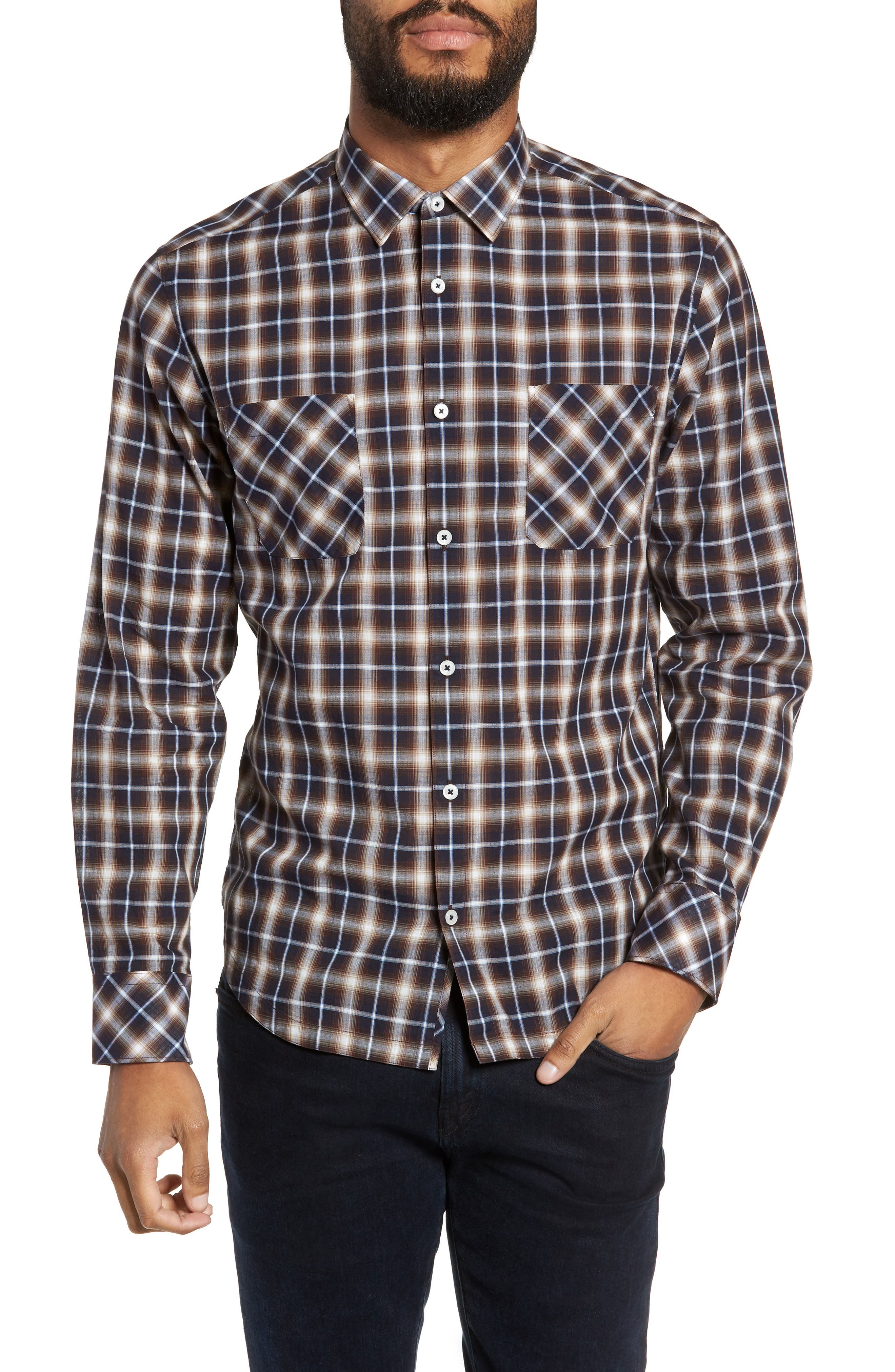 Alderplaid Slim Fit Sport Shirt,                         Main,                         color, TOBACCO