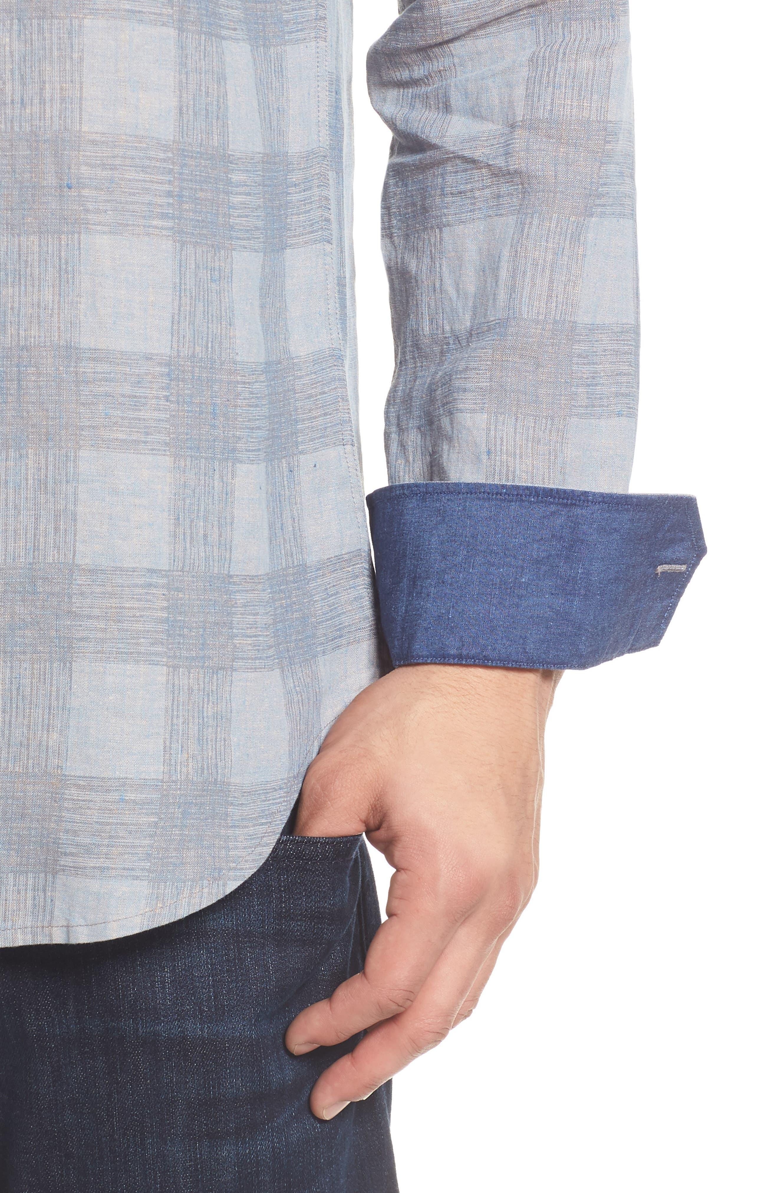 Shaped Fit Check Linen Blend Sport Shirt,                             Alternate thumbnail 4, color,                             STONE