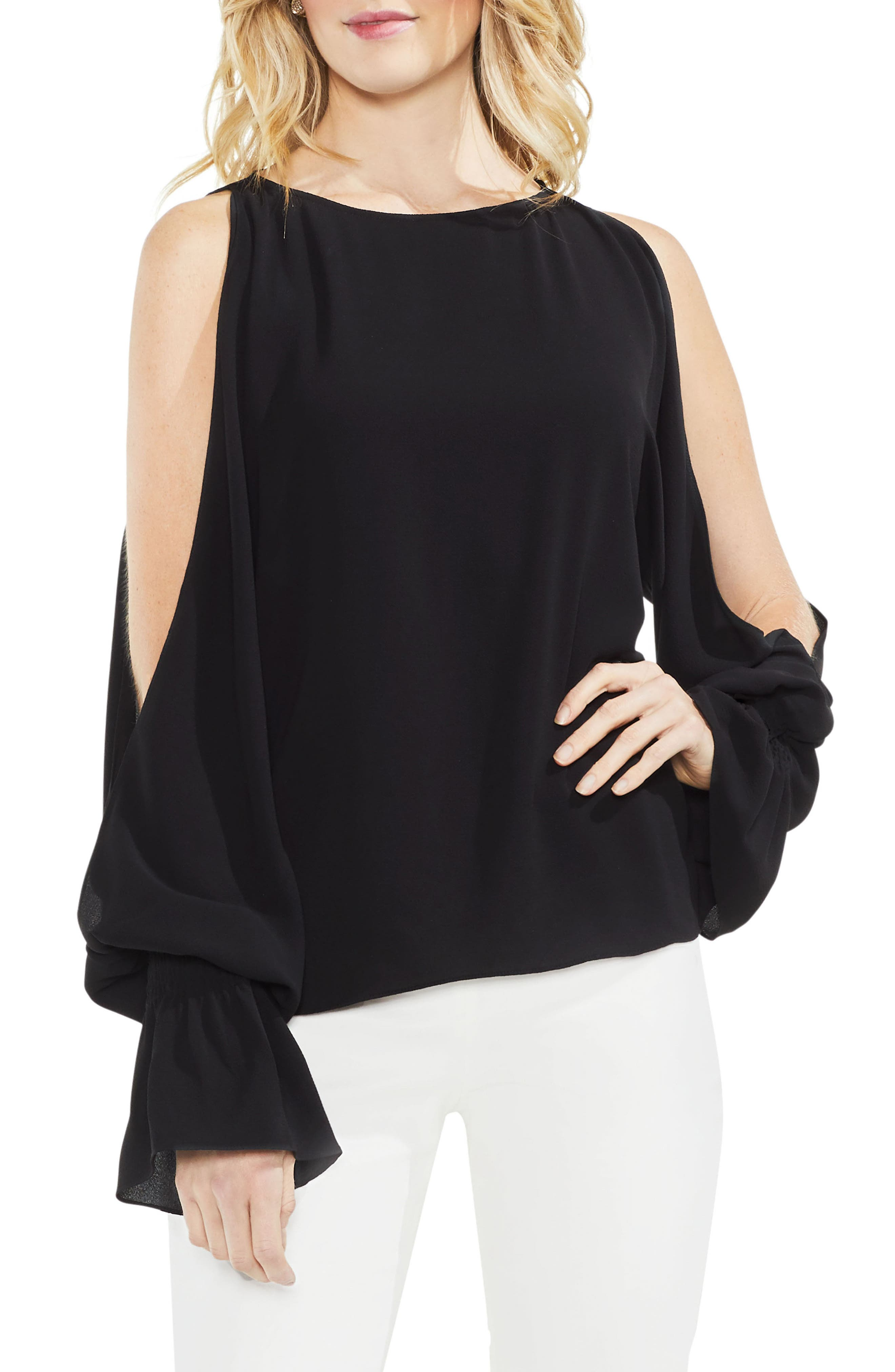 Cold Shoulder Flare Cuff Top,                             Main thumbnail 1, color,