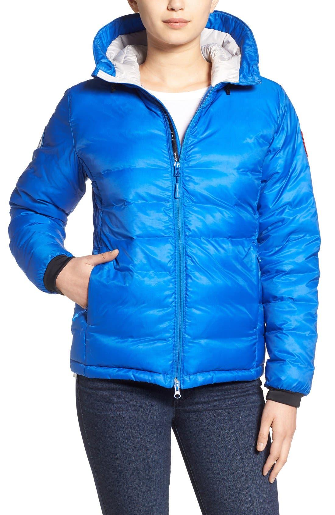 'PBI Camp' Packable Hooded Down Jacket,                             Main thumbnail 1, color,                             ROYAL PBI BLUE