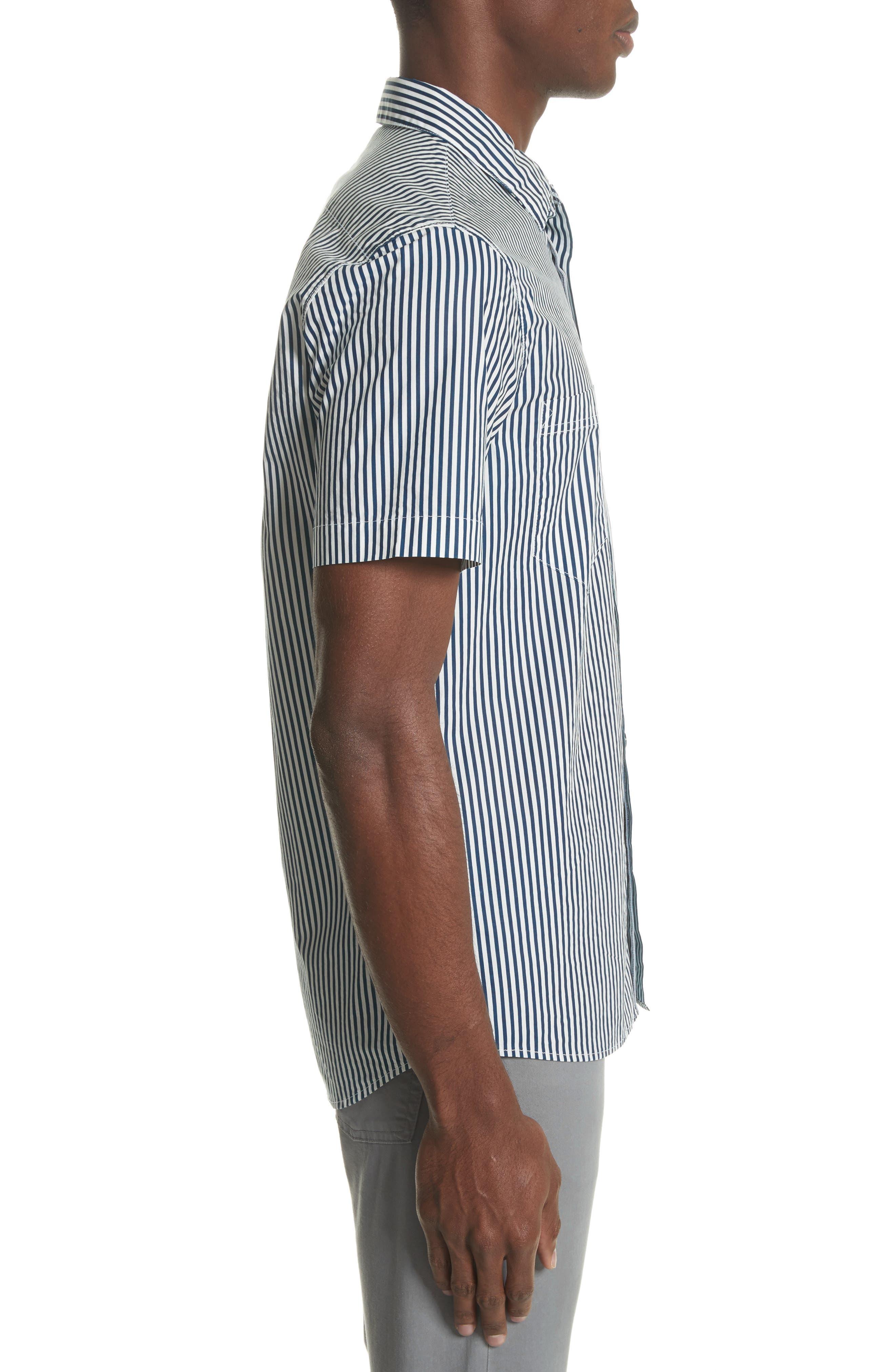 STONE ISLAND,                             Stripe Woven Shirt,                             Alternate thumbnail 3, color,                             100