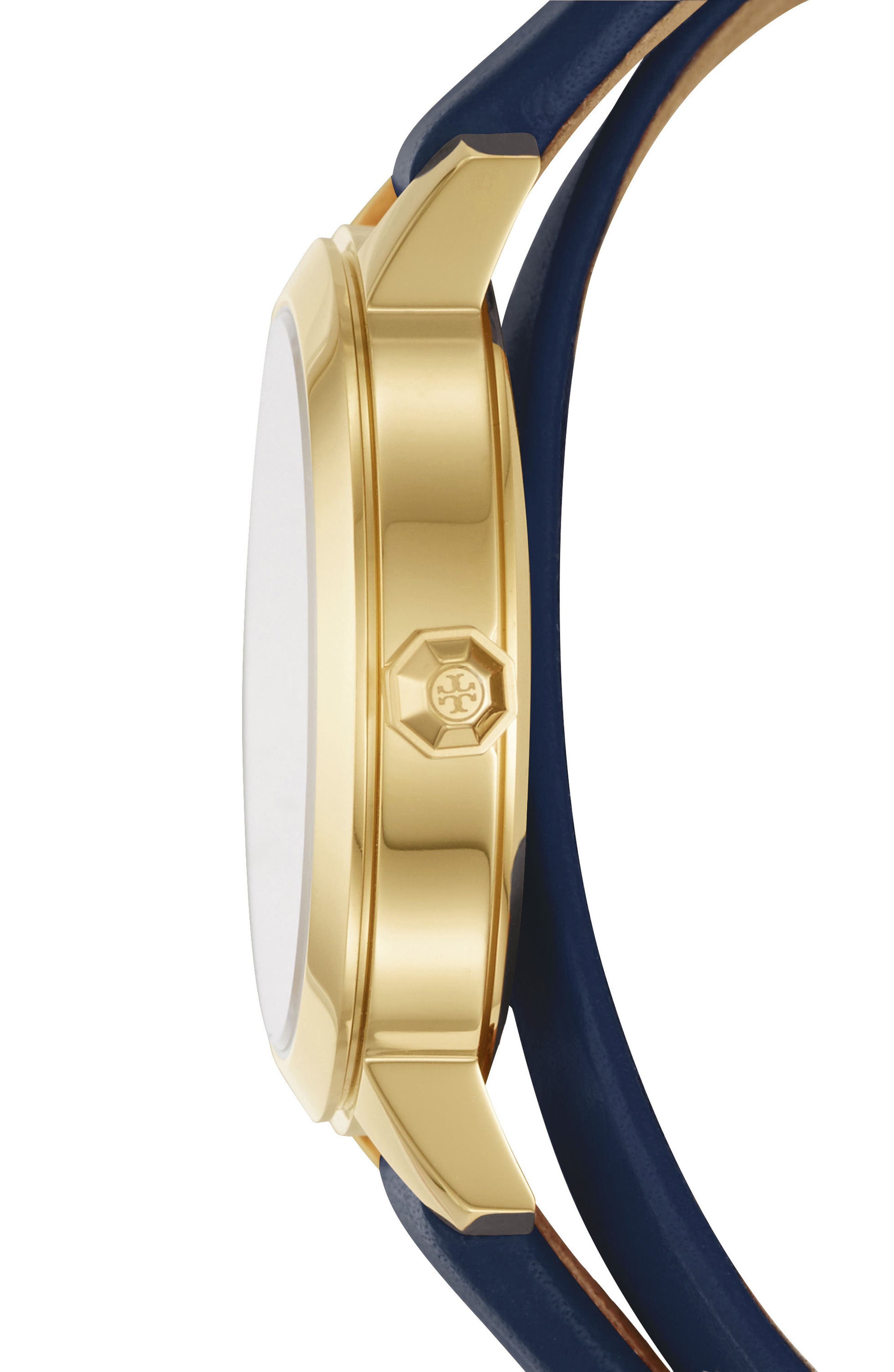 Collins Double Wrap Leather Strap Watch, 32mm,                             Alternate thumbnail 2, color,                             NAVY/ GOLD