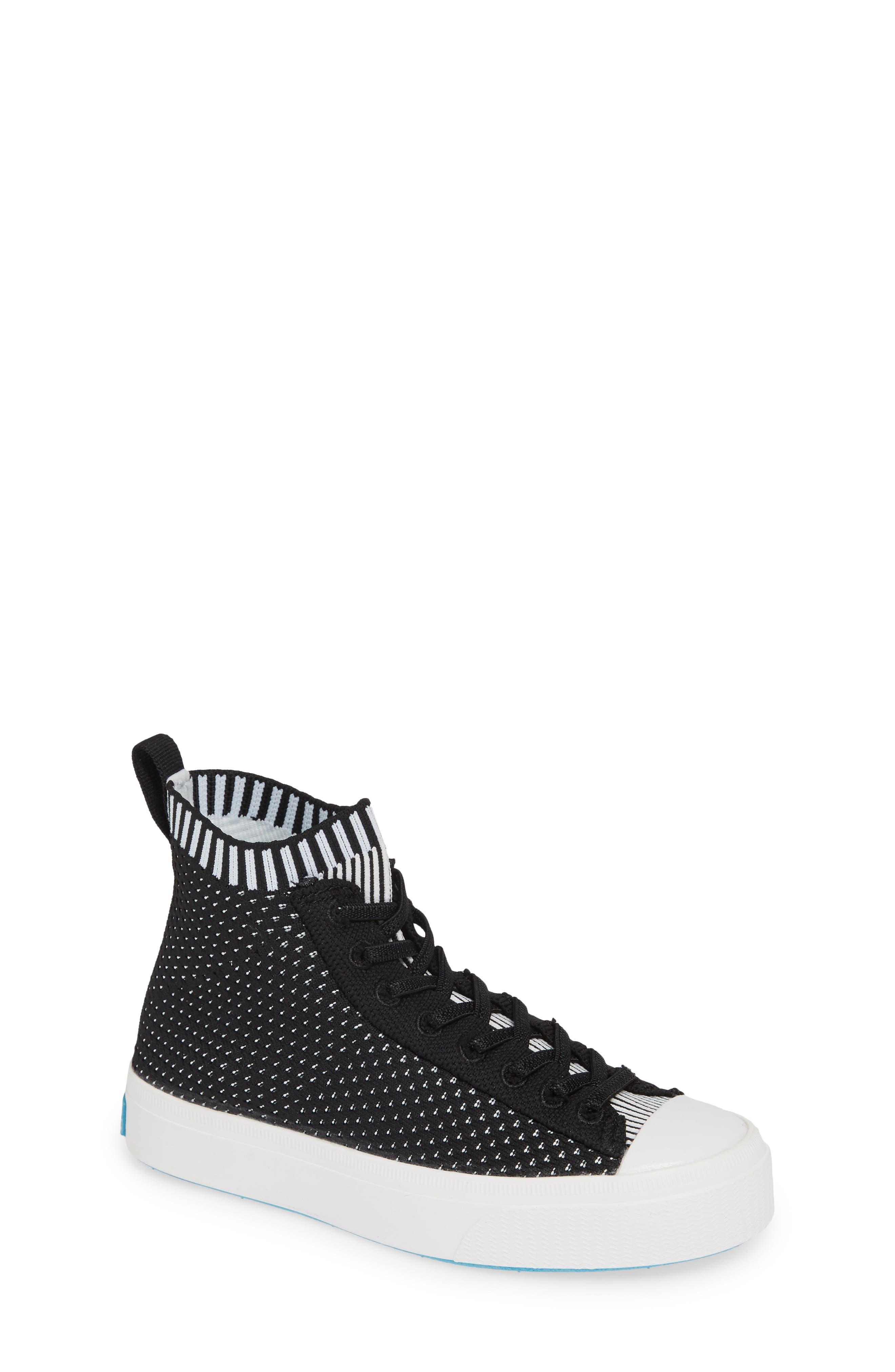 Jefferson 2.0 LiteKnit Vegan High Top Sneaker,                             Main thumbnail 1, color,                             JIFFY BLACK/ SHELL WHITE