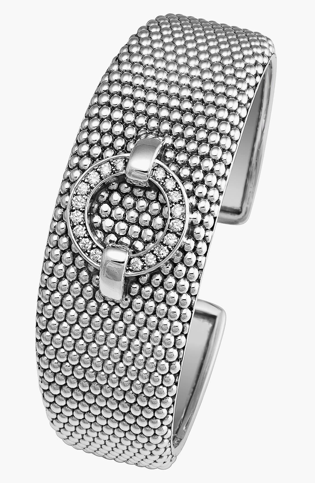 'Enso - Circle Game' Diamond Caviar Cuff,                             Alternate thumbnail 2, color,                             040