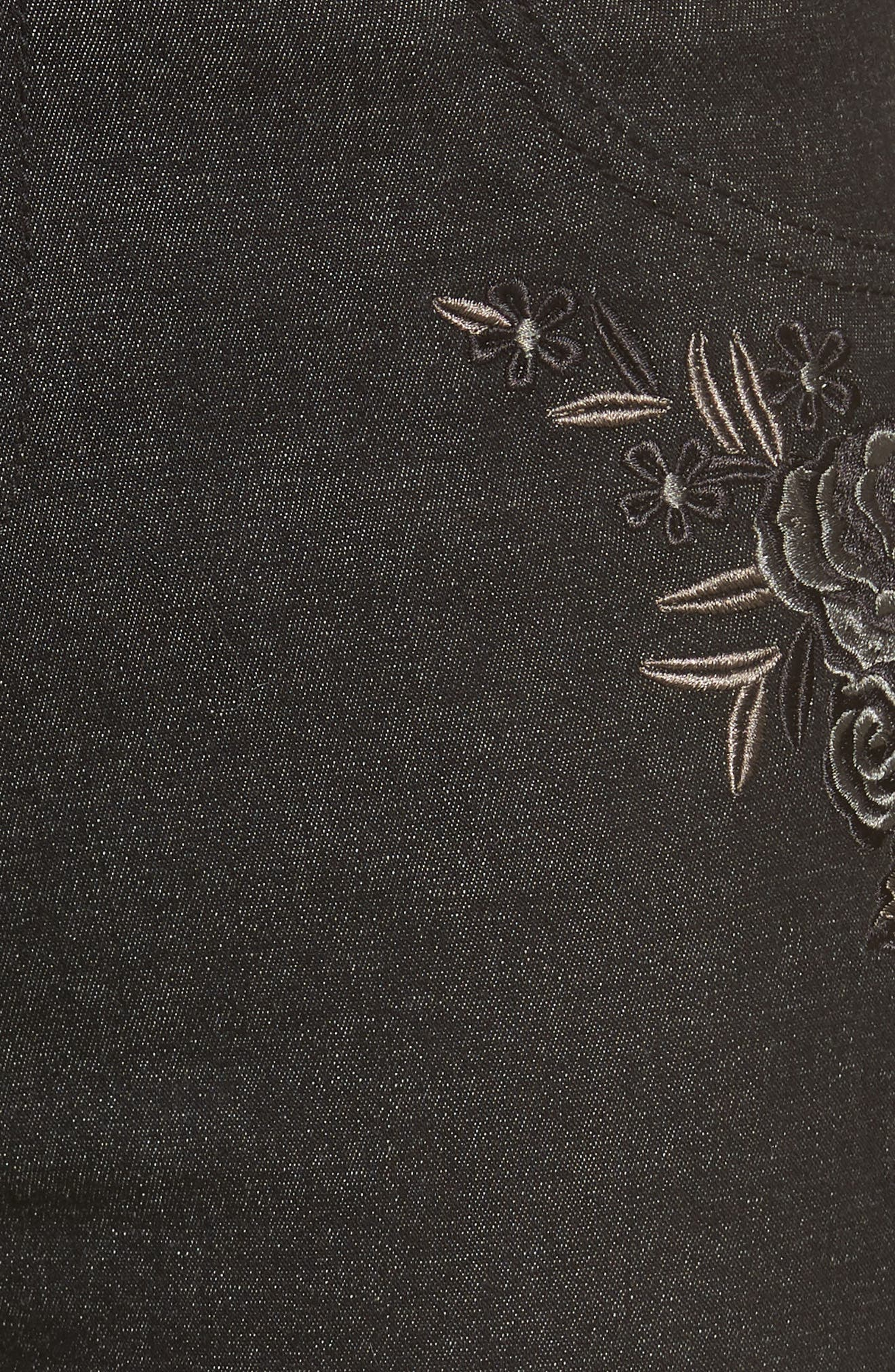 Embroidered Crop Denim Leggings,                             Alternate thumbnail 5, color,                             BLACK