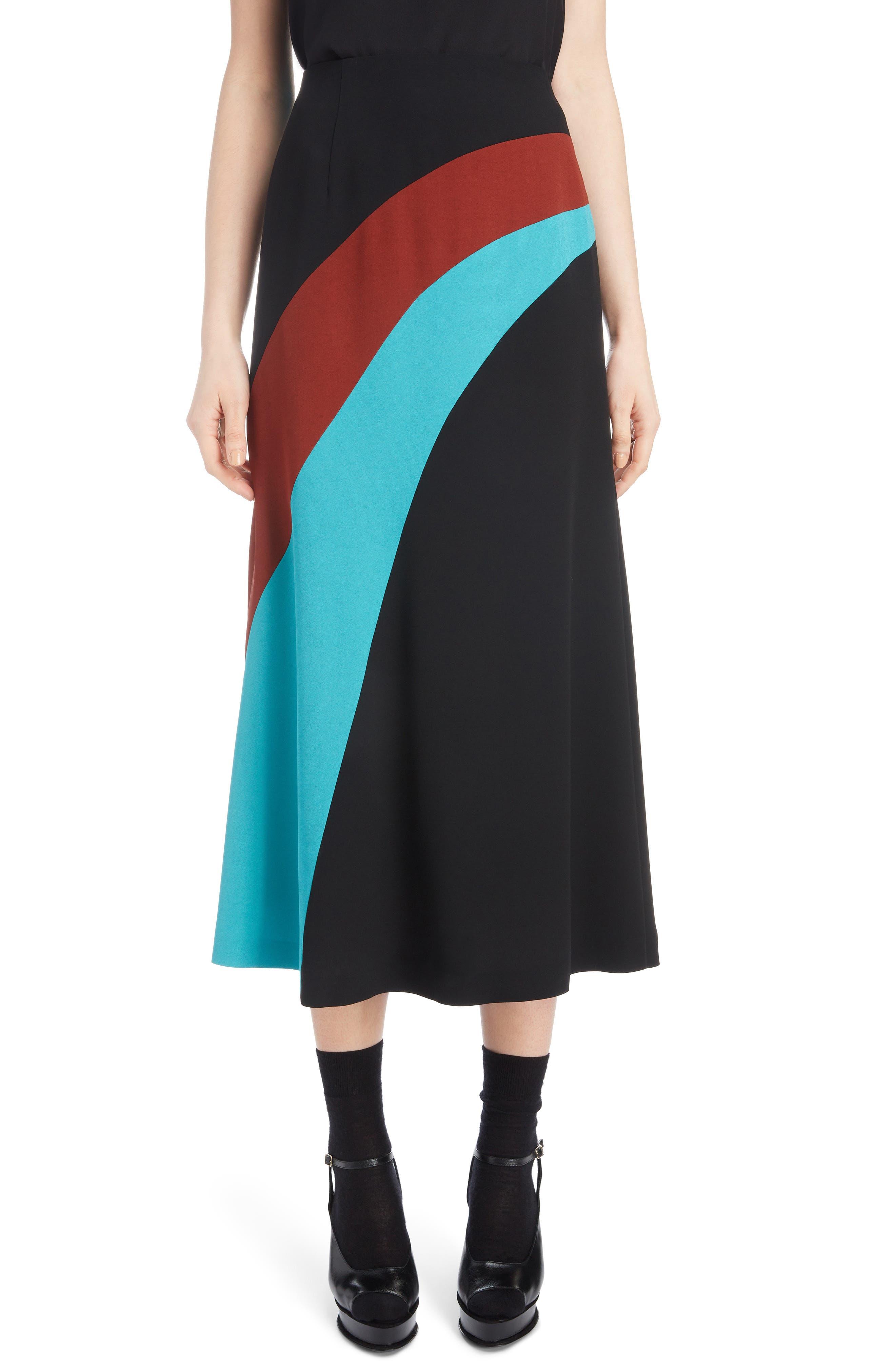Curved Inset Midi Skirt,                             Main thumbnail 1, color,                             BLACK