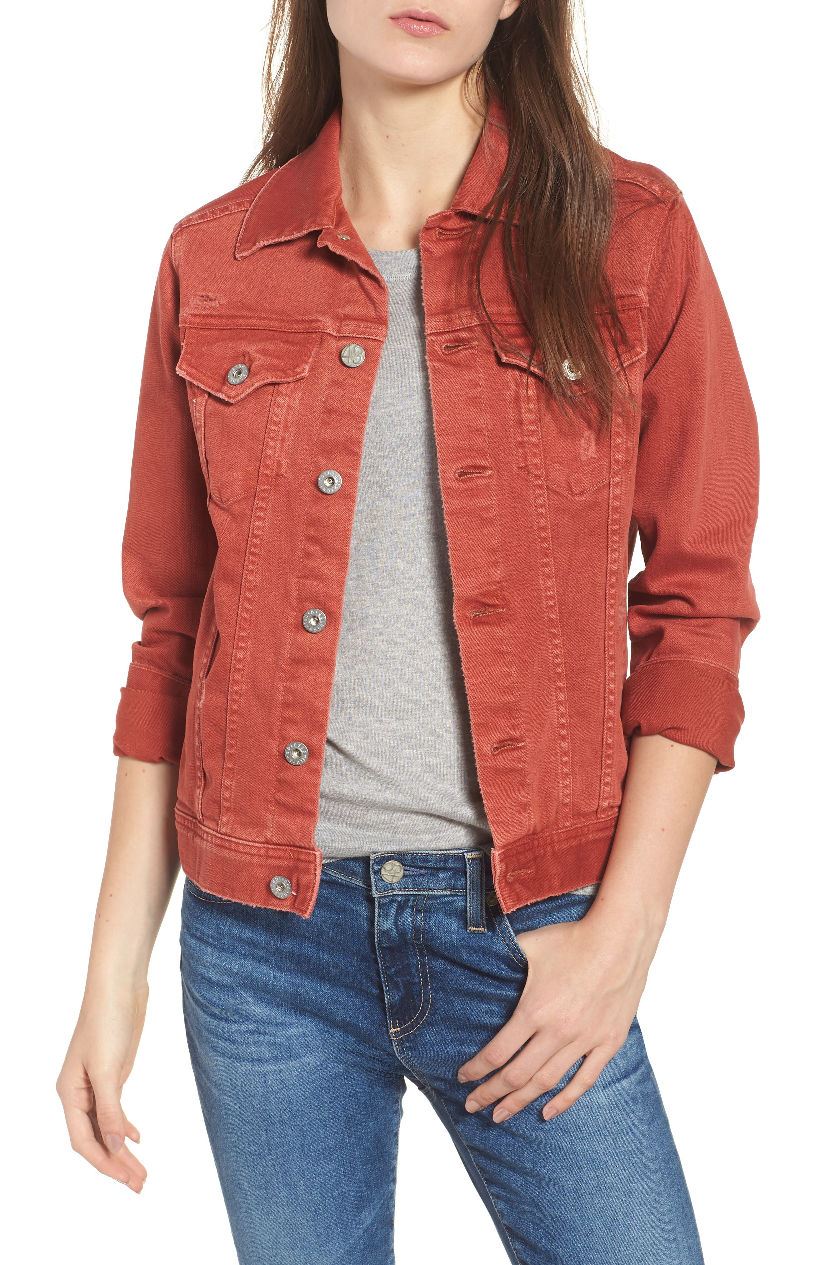 Mya Denim Jacket,                             Main thumbnail 1, color,                             10 YEARS REMEDY FIREBRICK