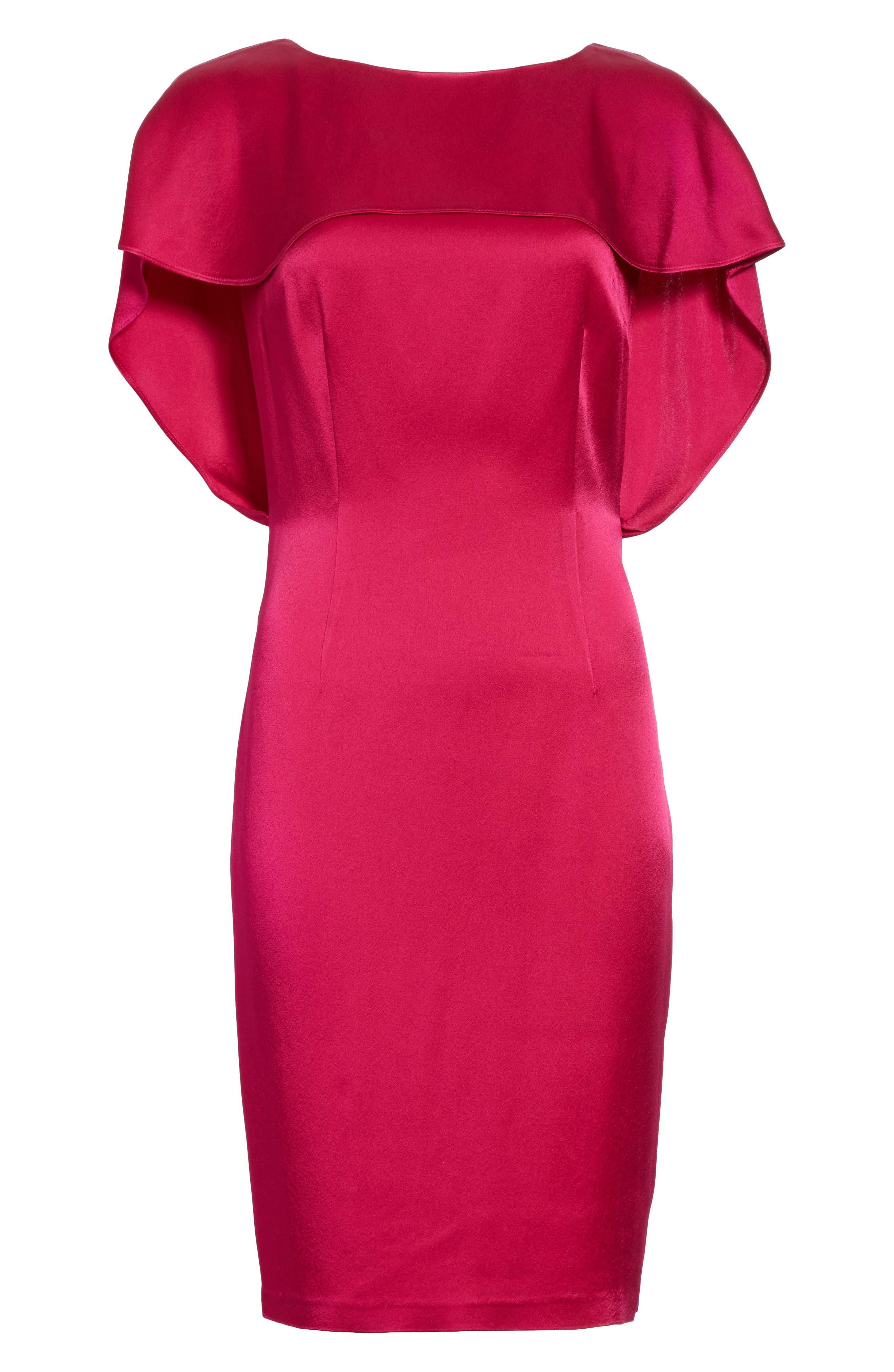 Draped Liquid Crepe Dress,                             Alternate thumbnail 6, color,                             600