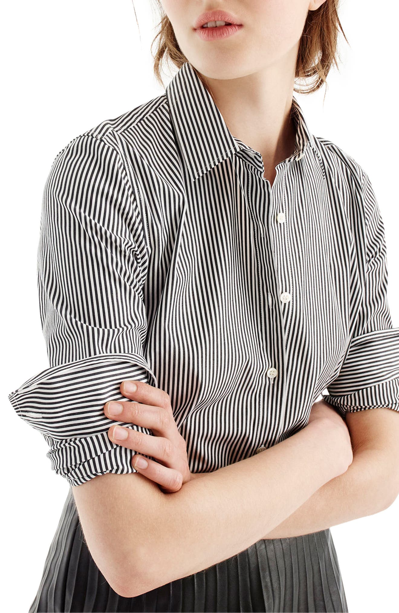 Perfect Classic Stripe Stretch Cotton Shirt,                             Alternate thumbnail 3, color,                             001