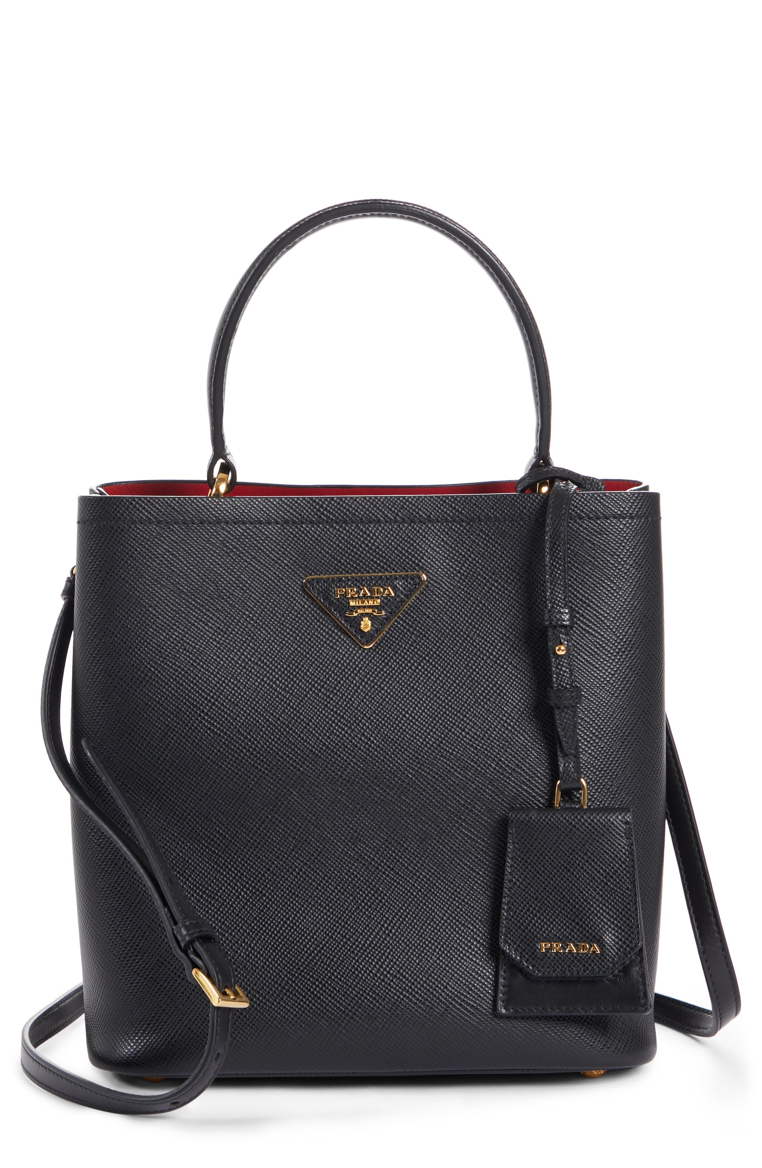 PRADA,                             Double Bucket Bag,                             Main thumbnail 1, color,                             NERO/ FUOCO