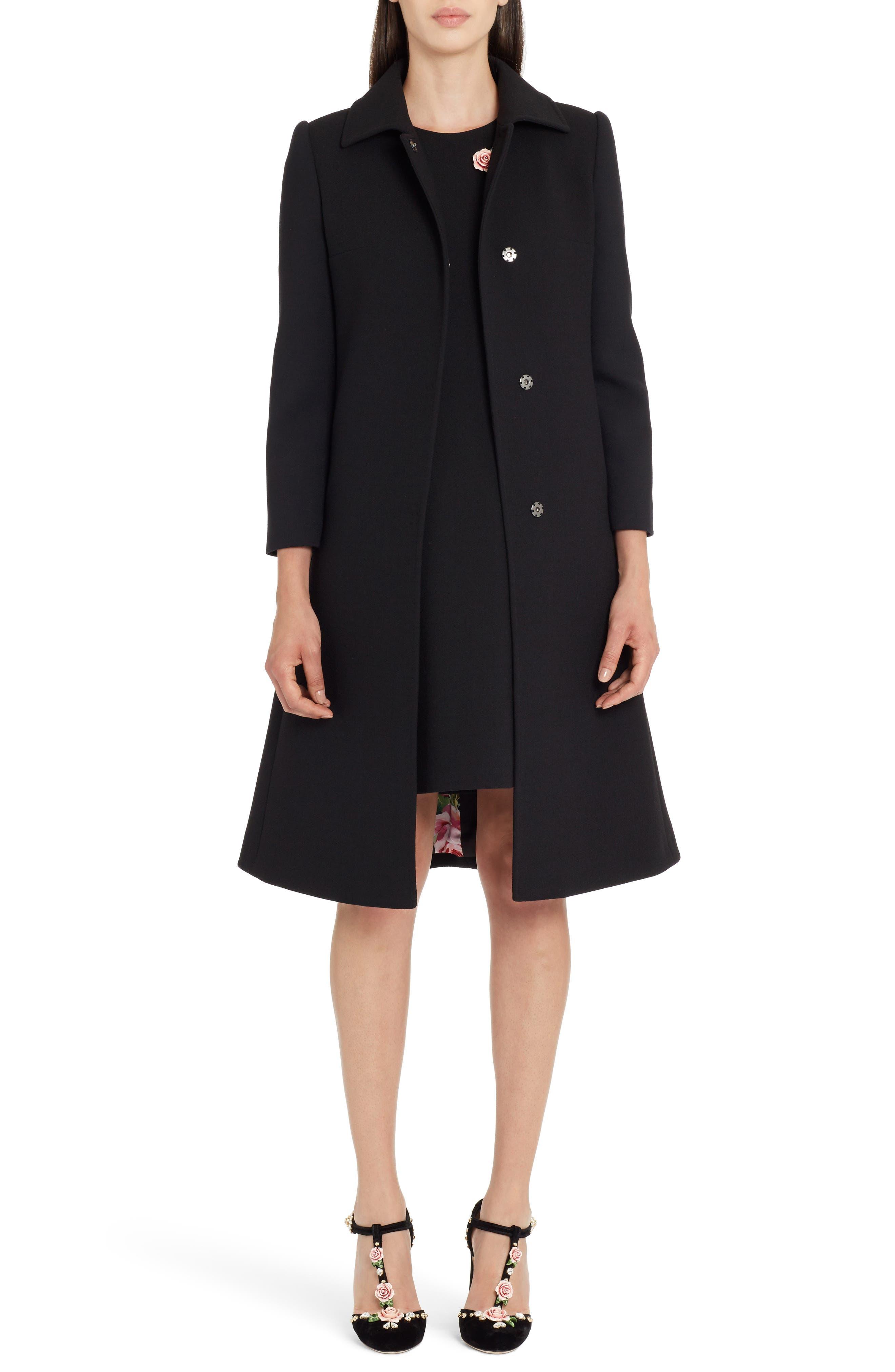 Stretch Wool Crepe Coat,                         Main,                         color, 001