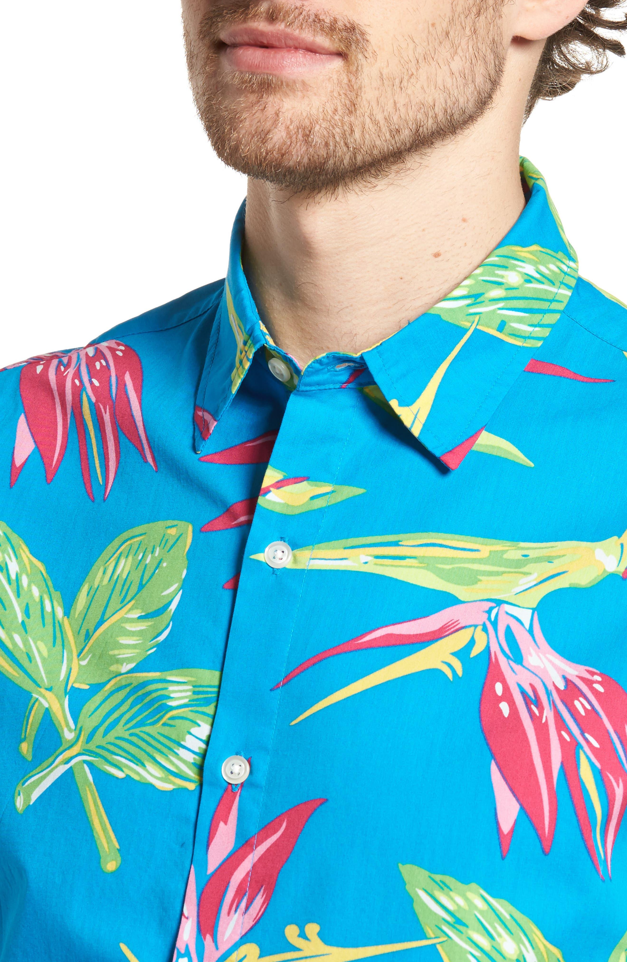 Slim Fit Print Short Sleeve Sport Shirt,                             Alternate thumbnail 4, color,