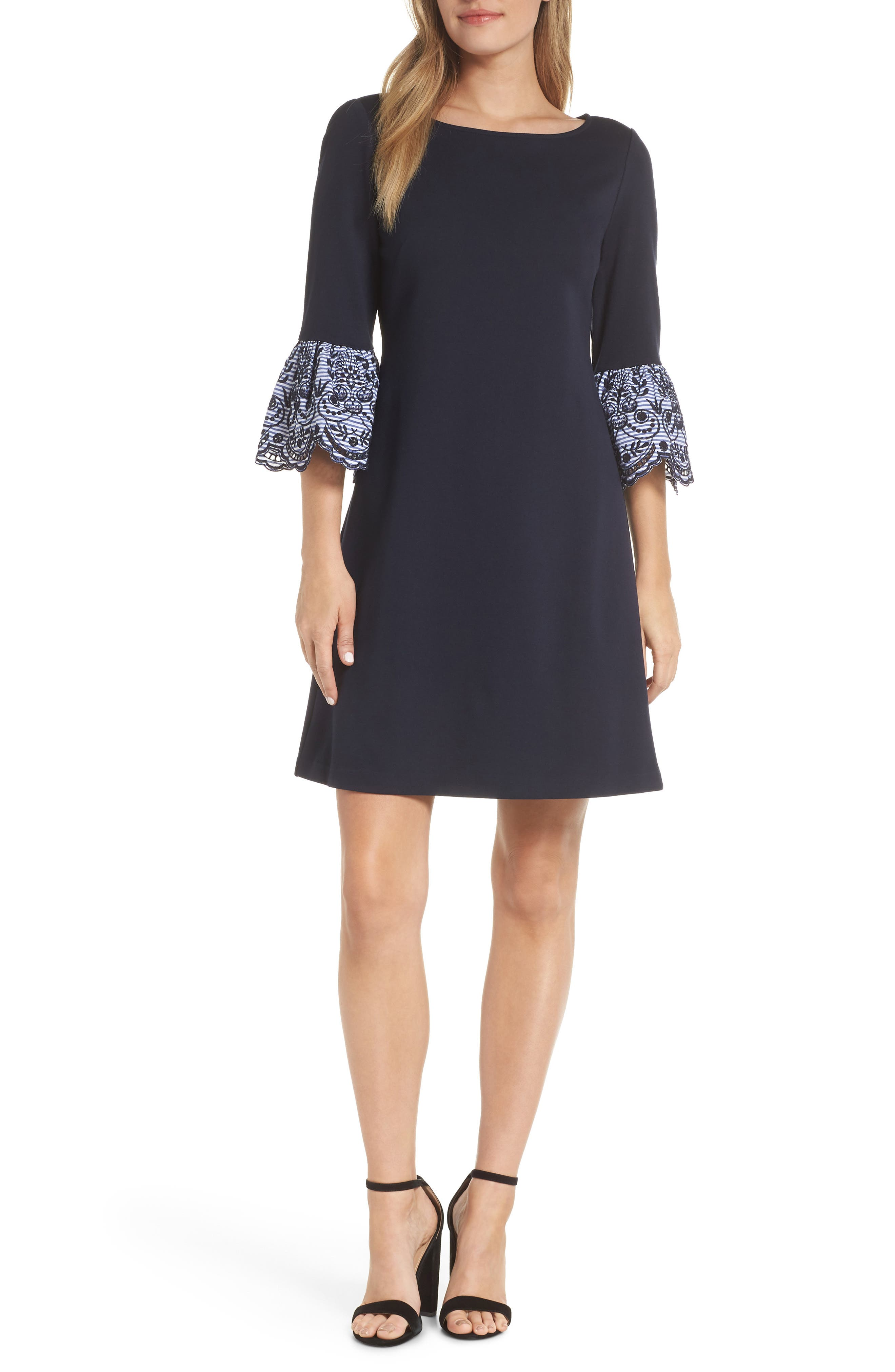 Eliza J Embroidered Bell Cuff Shift Dress, Blue