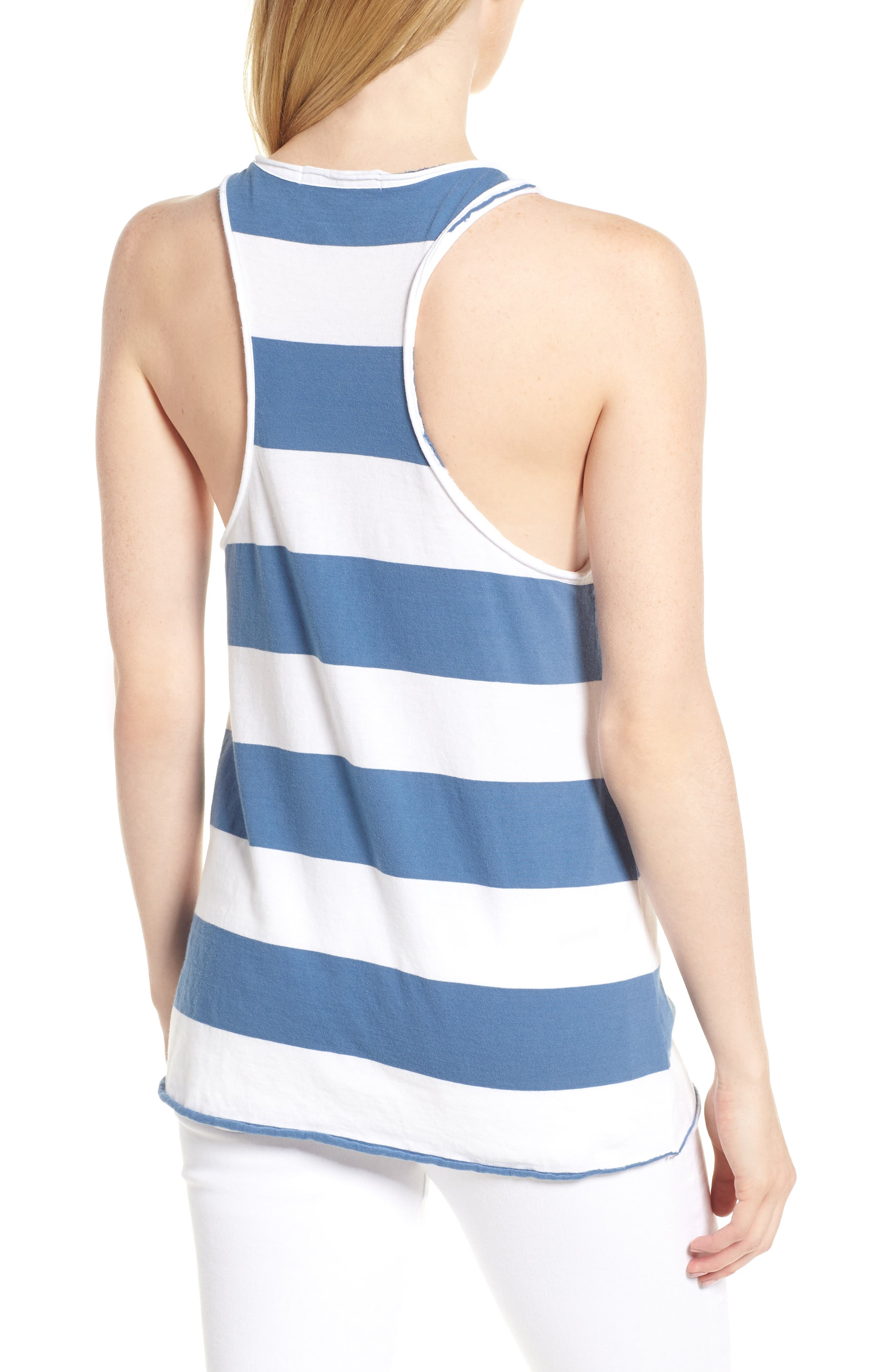 Rugby Stripe Tank,                             Alternate thumbnail 2, color,                             WHITE/ BLUE