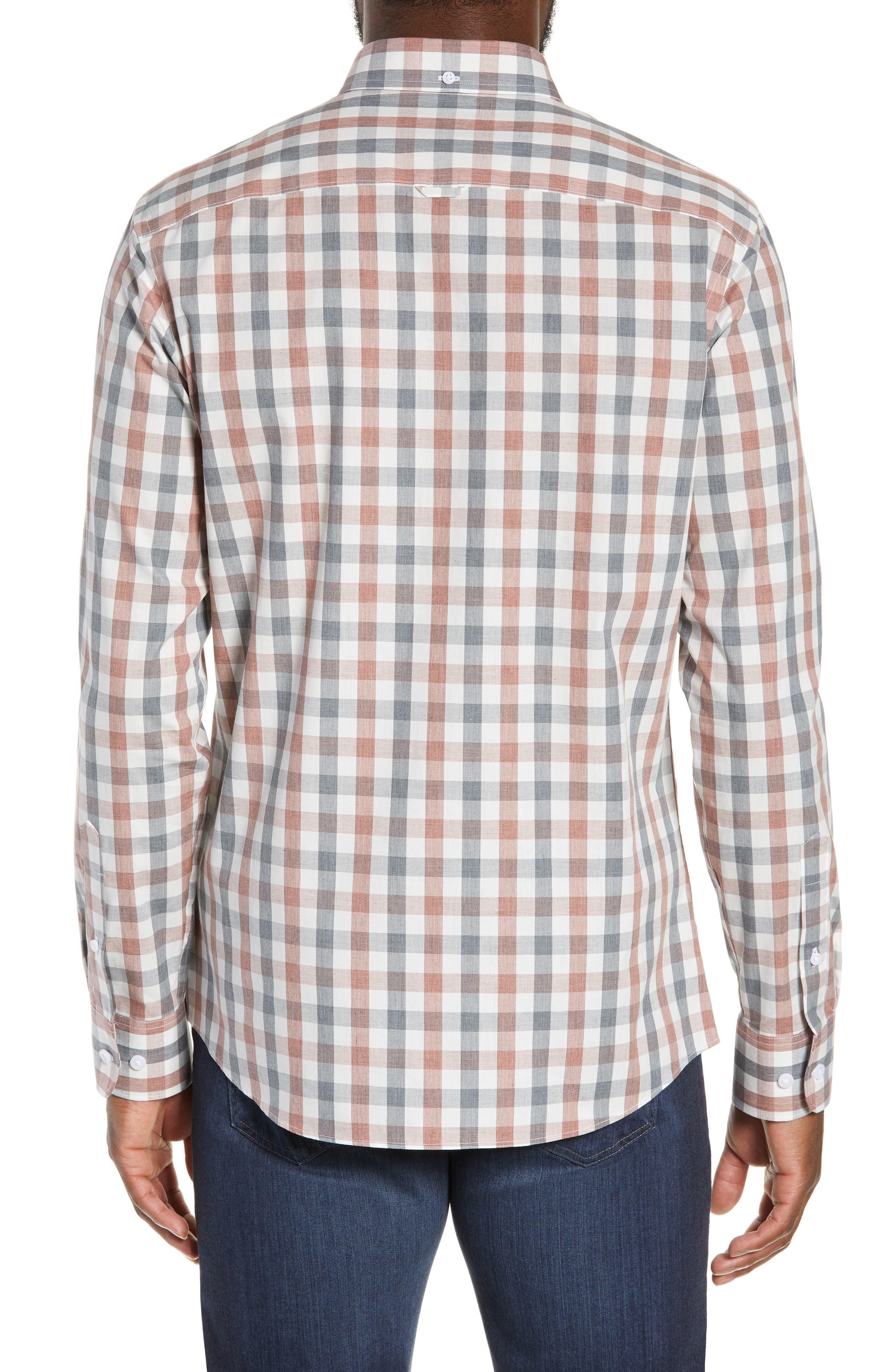 Check Sport Shirt,                             Alternate thumbnail 3, color,                             GREY RED WHITE MELANGE CHECK
