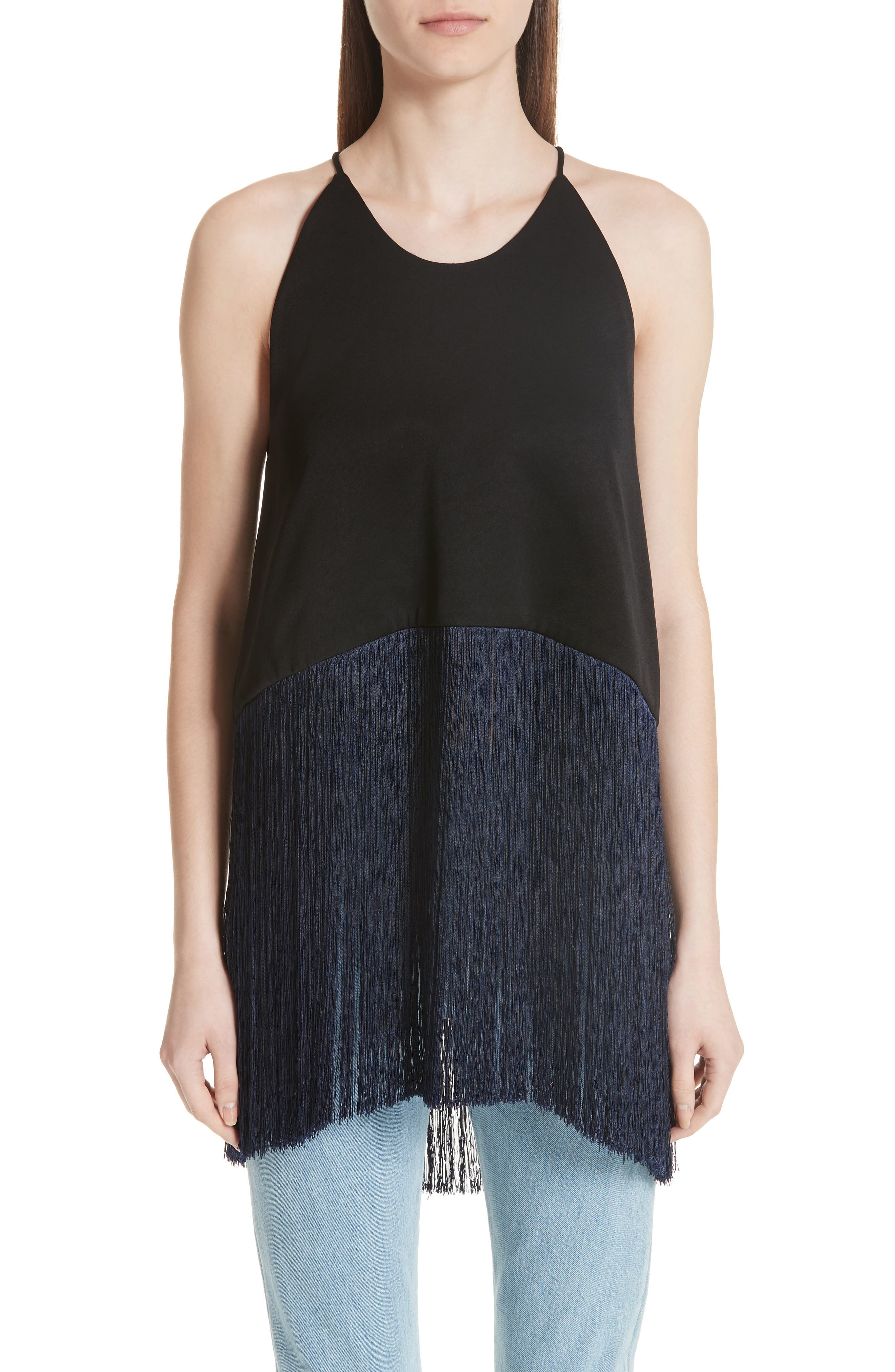 Star Sign Fringe Crop Top,                         Main,                         color,