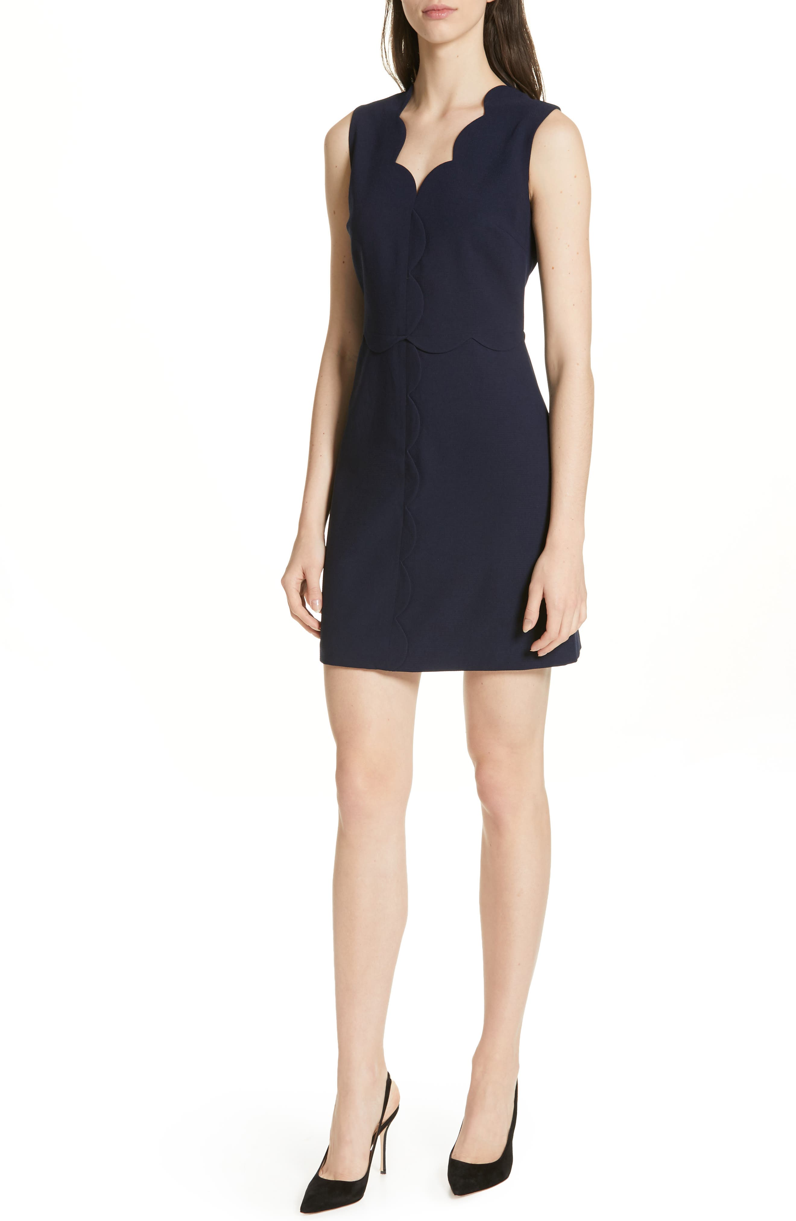 Rubeyed Scallop Edge A-Line Dress, Main, color, DARK BLUE