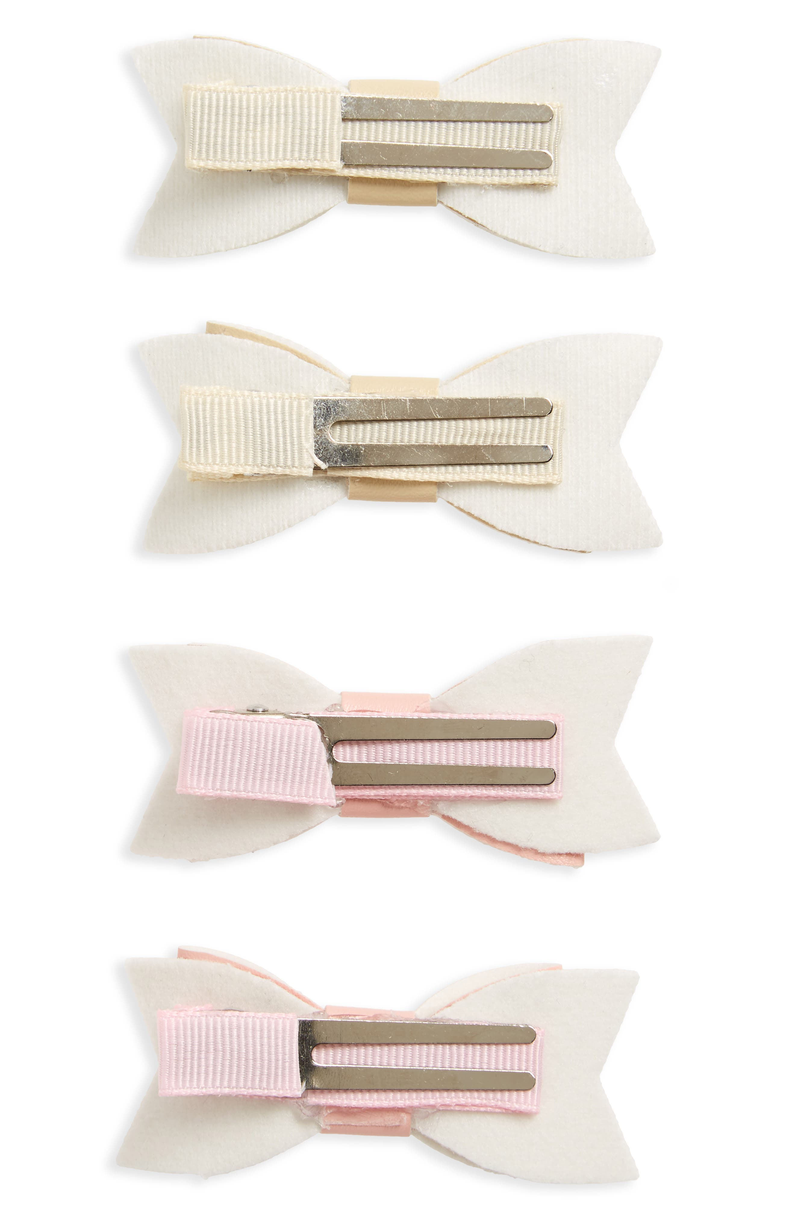4-Pack Bow Clips,                             Alternate thumbnail 2, color,                             PINK/ IVORY