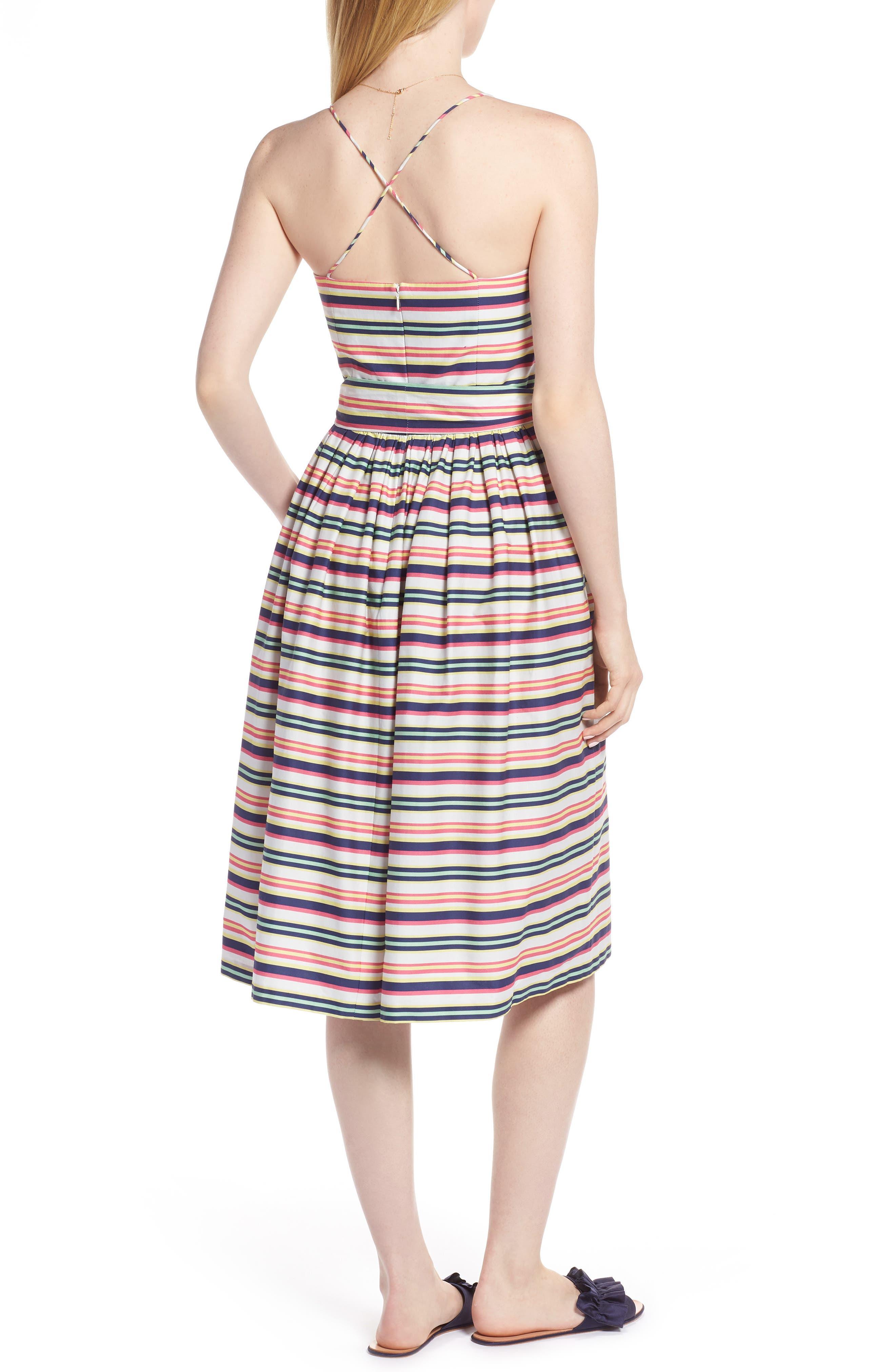 Stripe Strappy Cotton Dress,                             Alternate thumbnail 2, color,                             NAVY PINK COMBO STRIPE