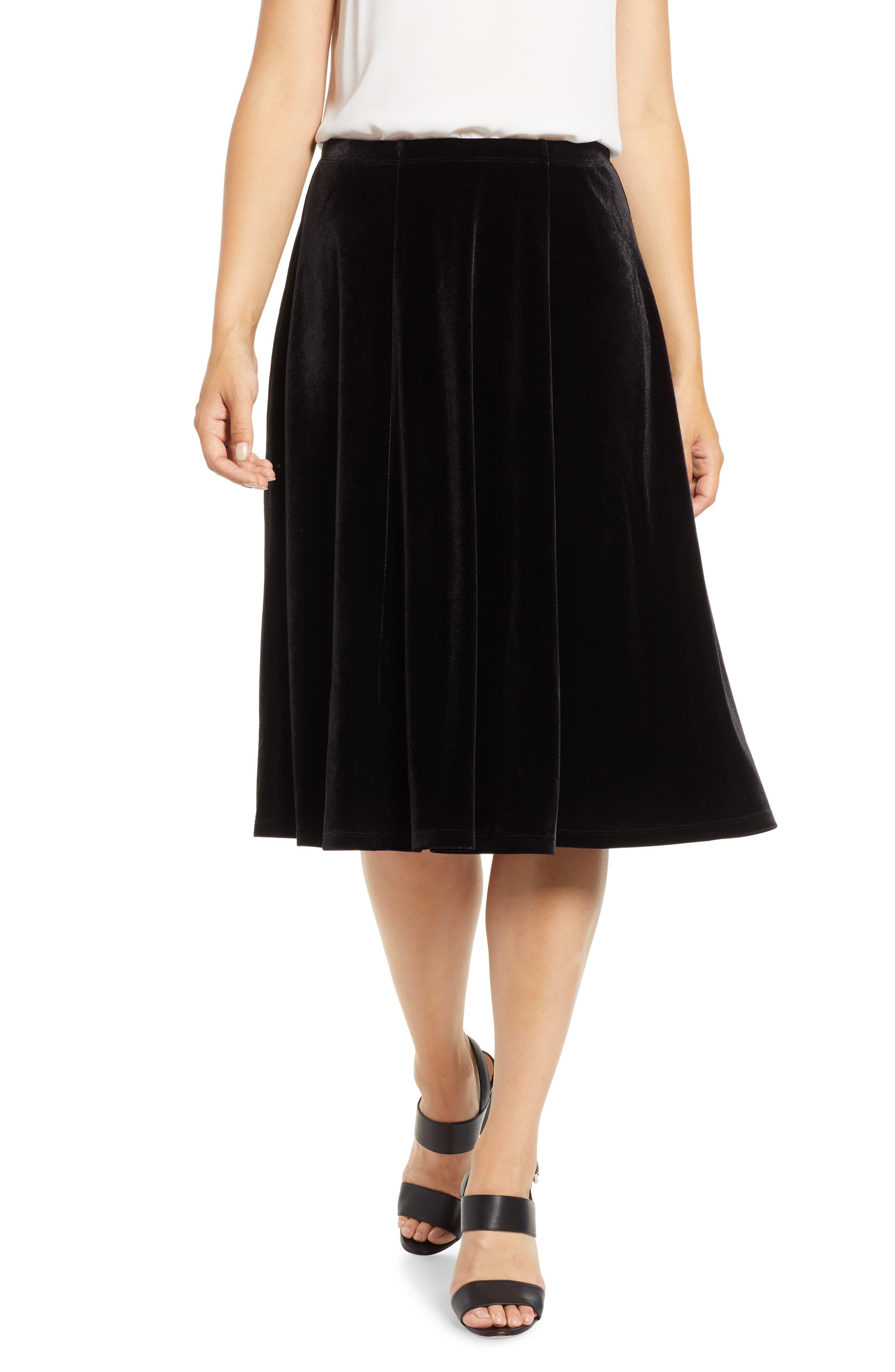 Chaus Stretch Velvet Flare Skirt, Black