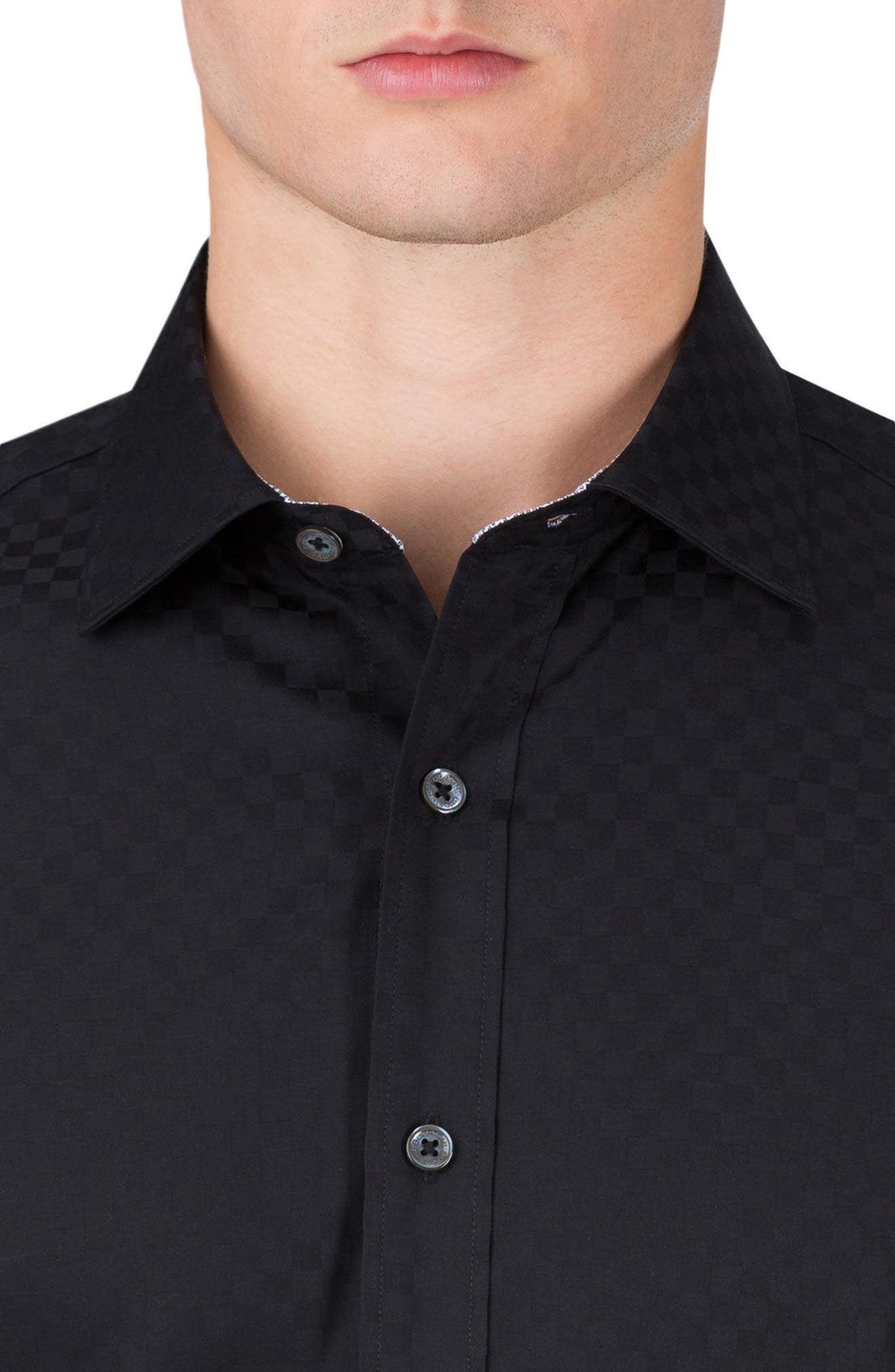 Classic Fit Checkerboard Sport Shirt,                             Alternate thumbnail 3, color,                             001