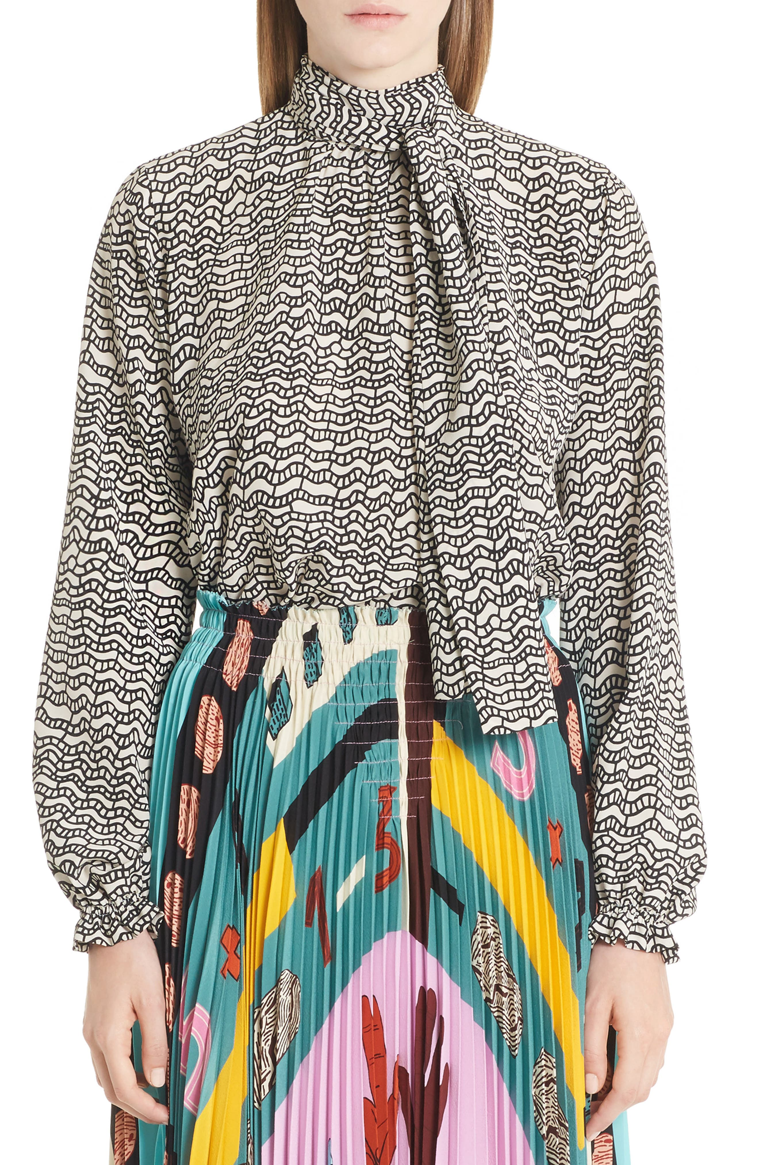 Graphic Print Silk Crêpe de Chine Blouse,                             Main thumbnail 1, color,                             001
