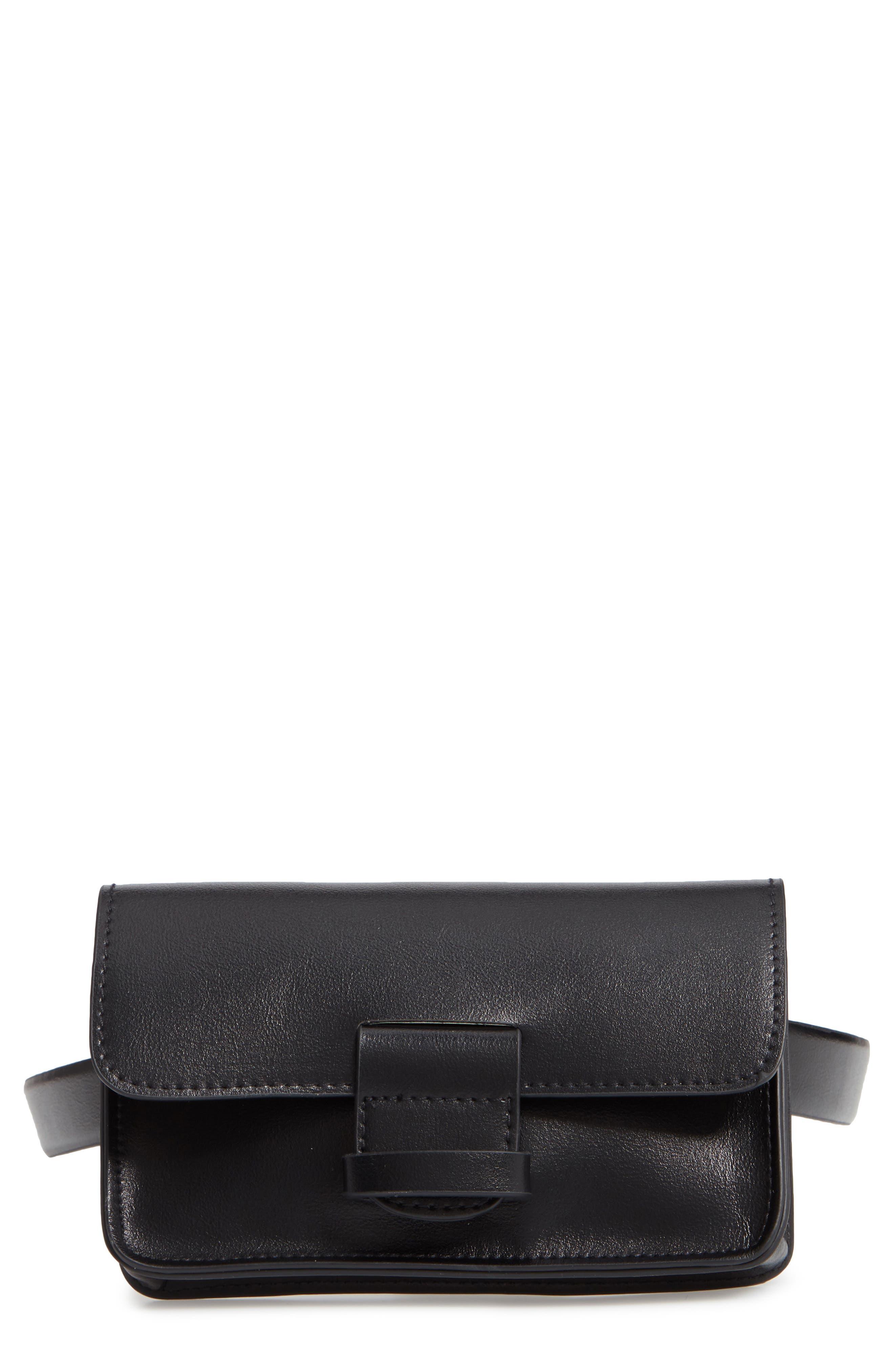 Halogen Faux Leather Belt Bag, Black